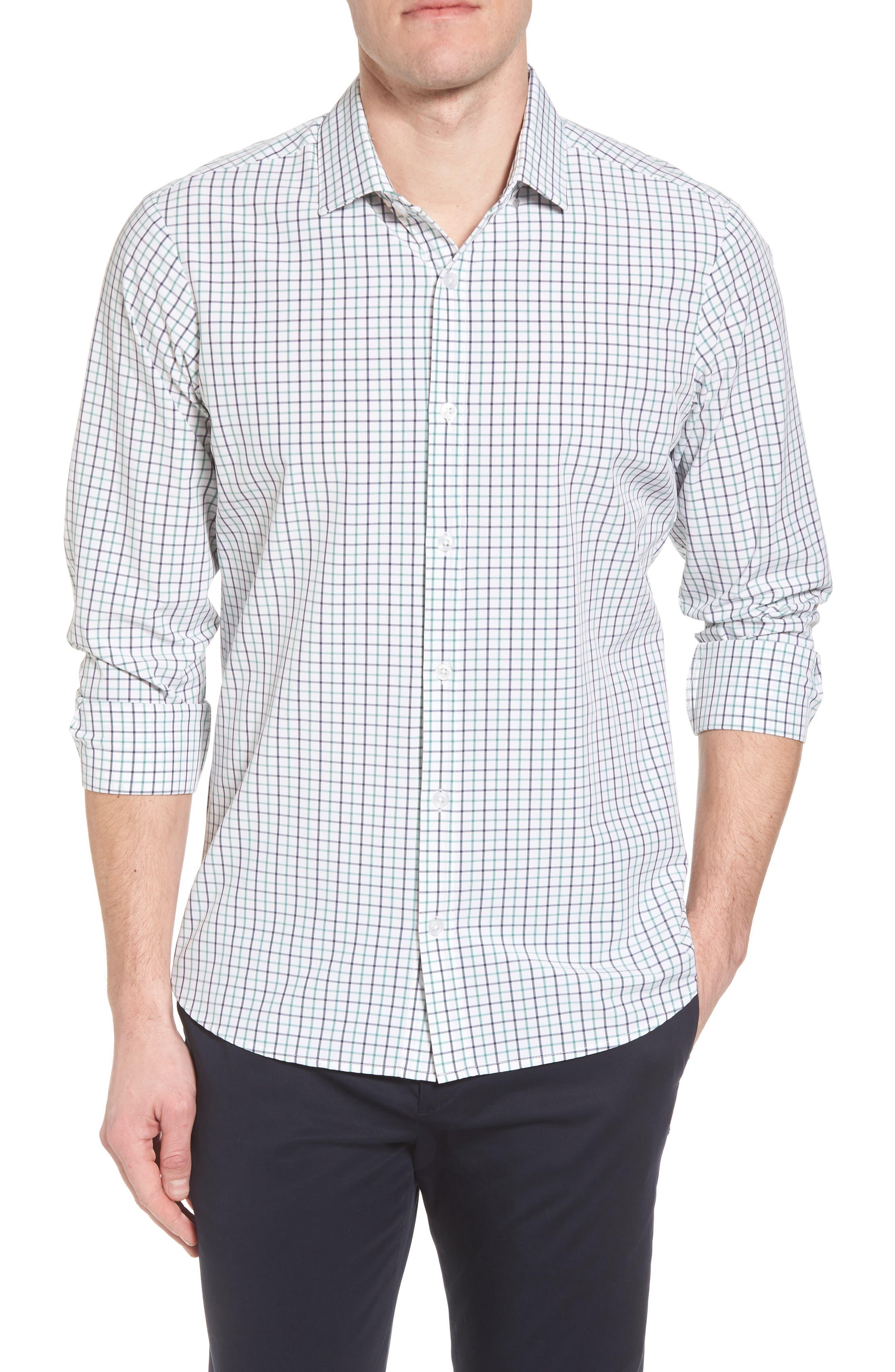 Ellis Slim Fit Tattersall Sport Shirt,                         Main,                         color, 360