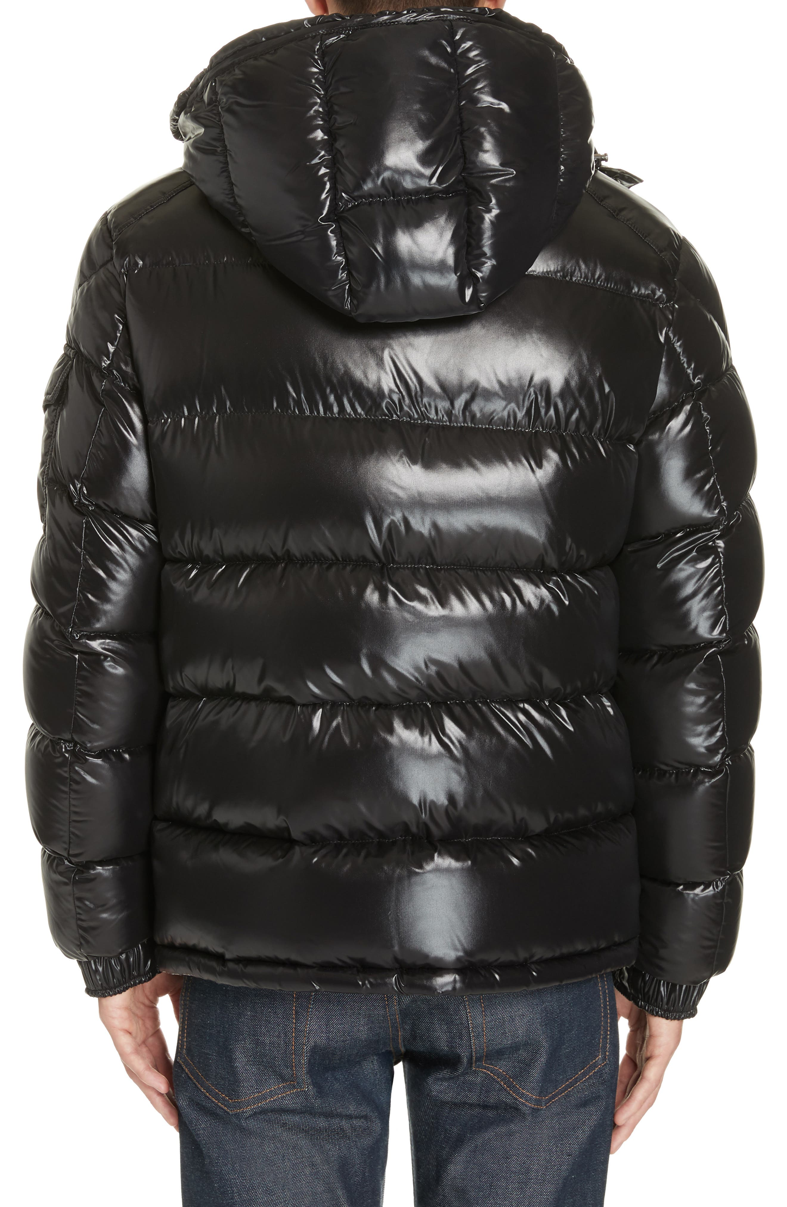 Maya Laque Quilted Down Jacket,                             Alternate thumbnail 2, color,                             BLACK