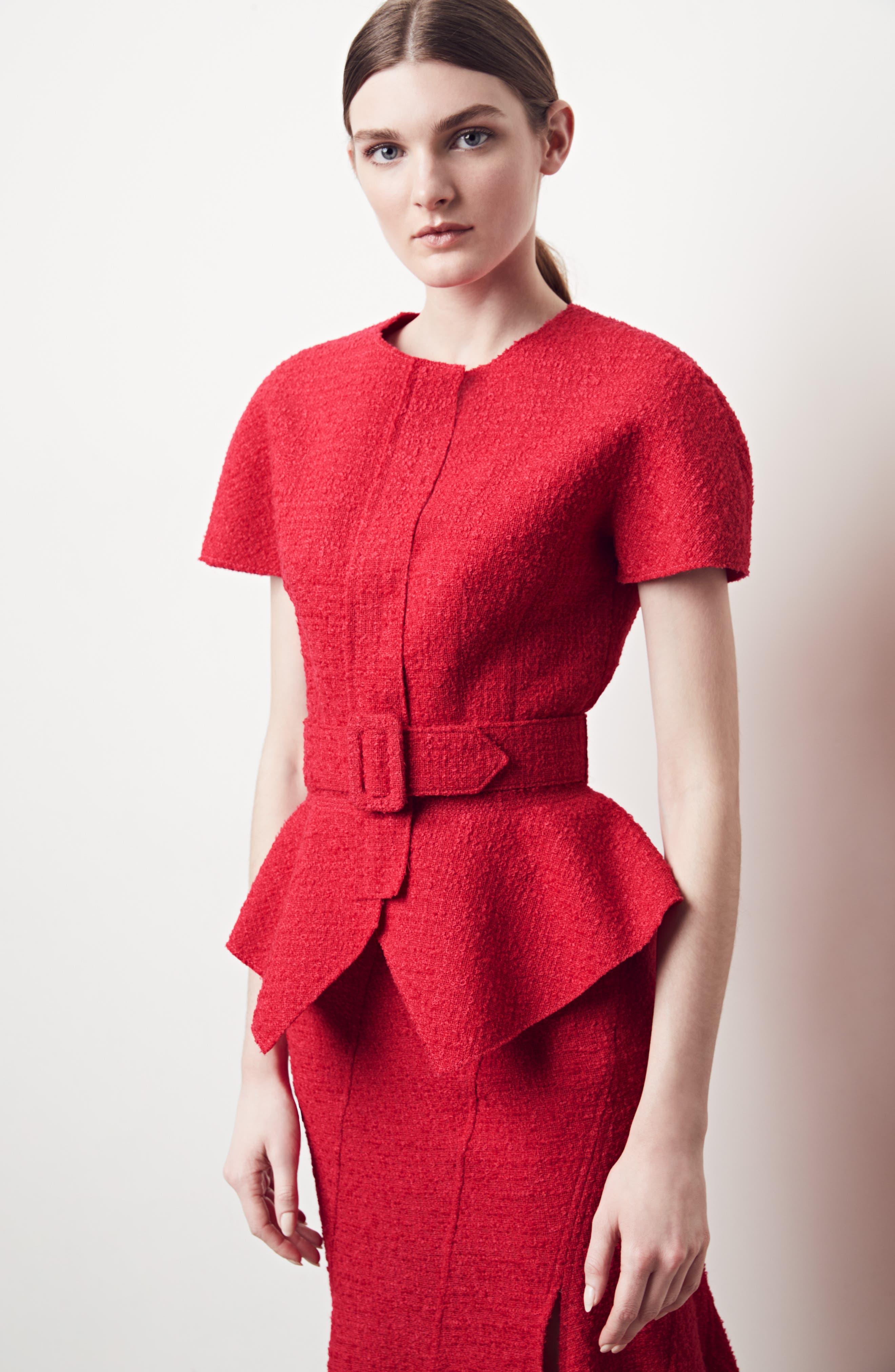 Belted Peplum Wool Blend Tweed Jacket,                             Alternate thumbnail 8, color,                             607