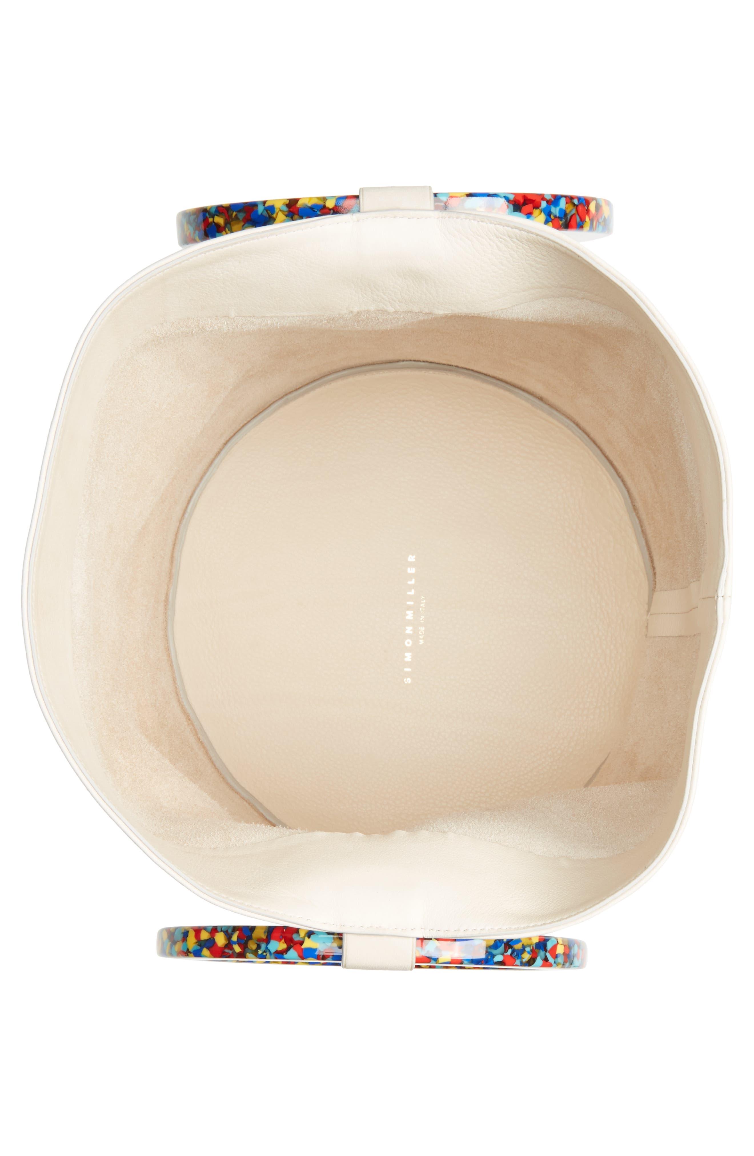 Confetti Handle Bonsai Leather Bucket Bag,                             Alternate thumbnail 4, color,                             900