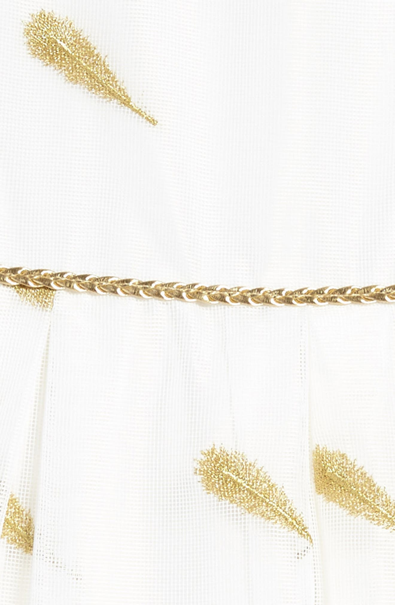 Feather Embroidered Dress,                             Alternate thumbnail 3, color,