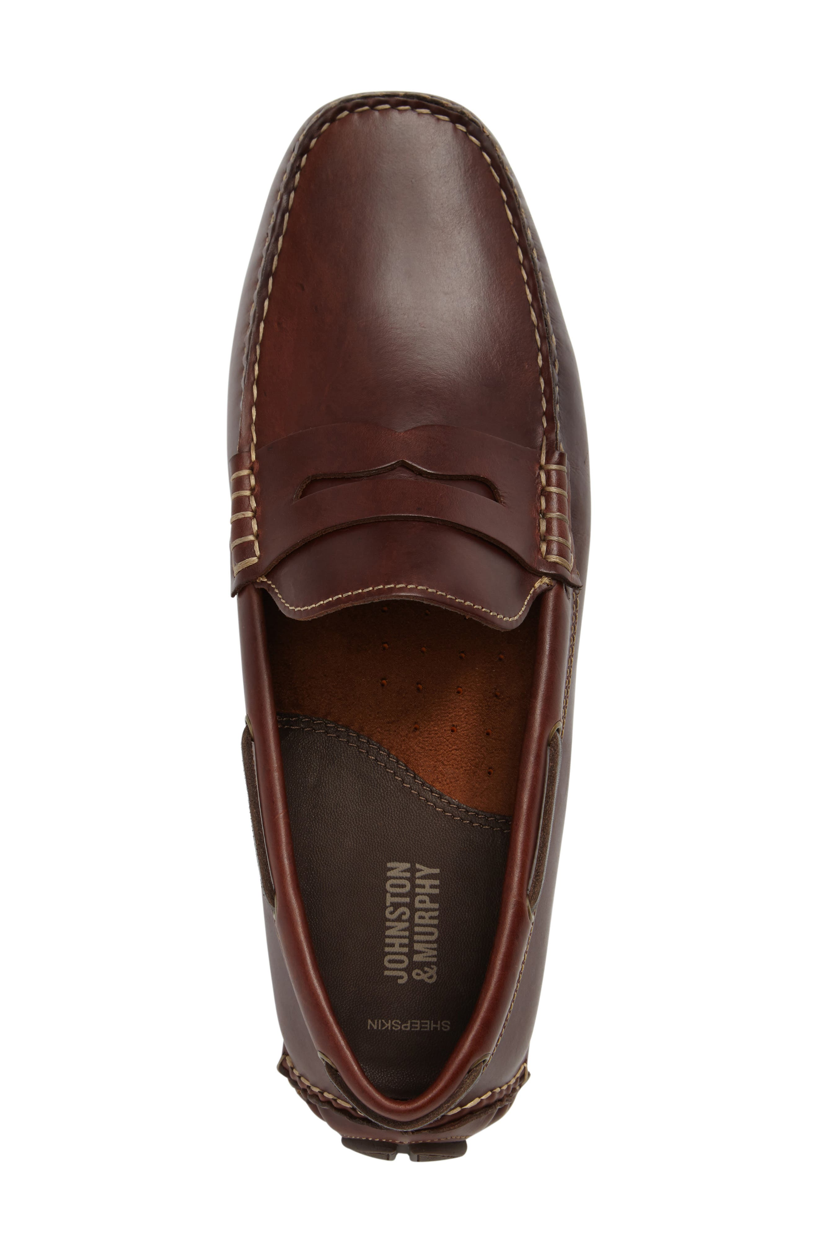 Gibson Penny Driving Loafer,                             Alternate thumbnail 3, color,                             TAN LEATHER