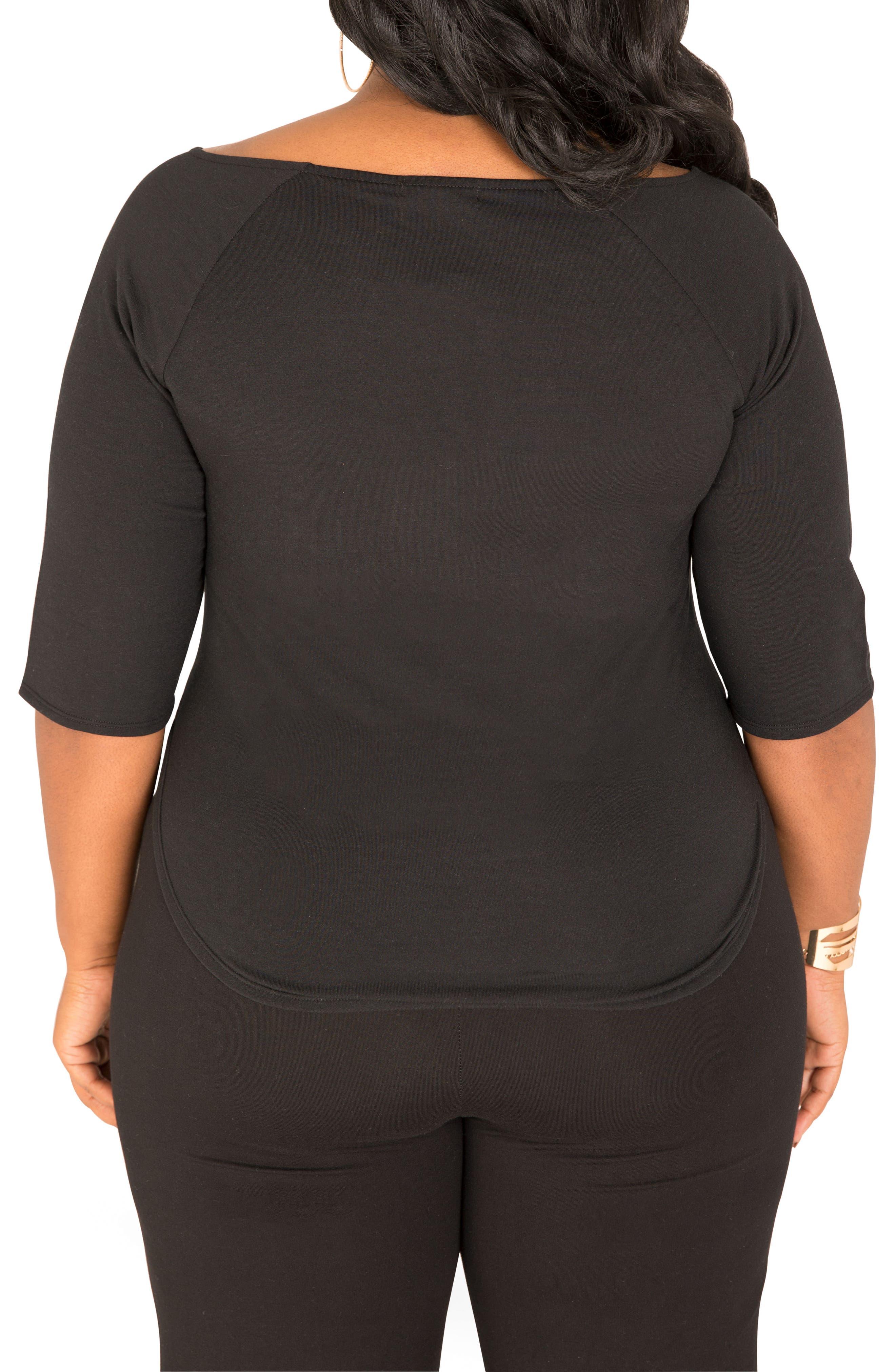 Morgan Zip Shoulder Top,                             Alternate thumbnail 3, color,                             BLACK