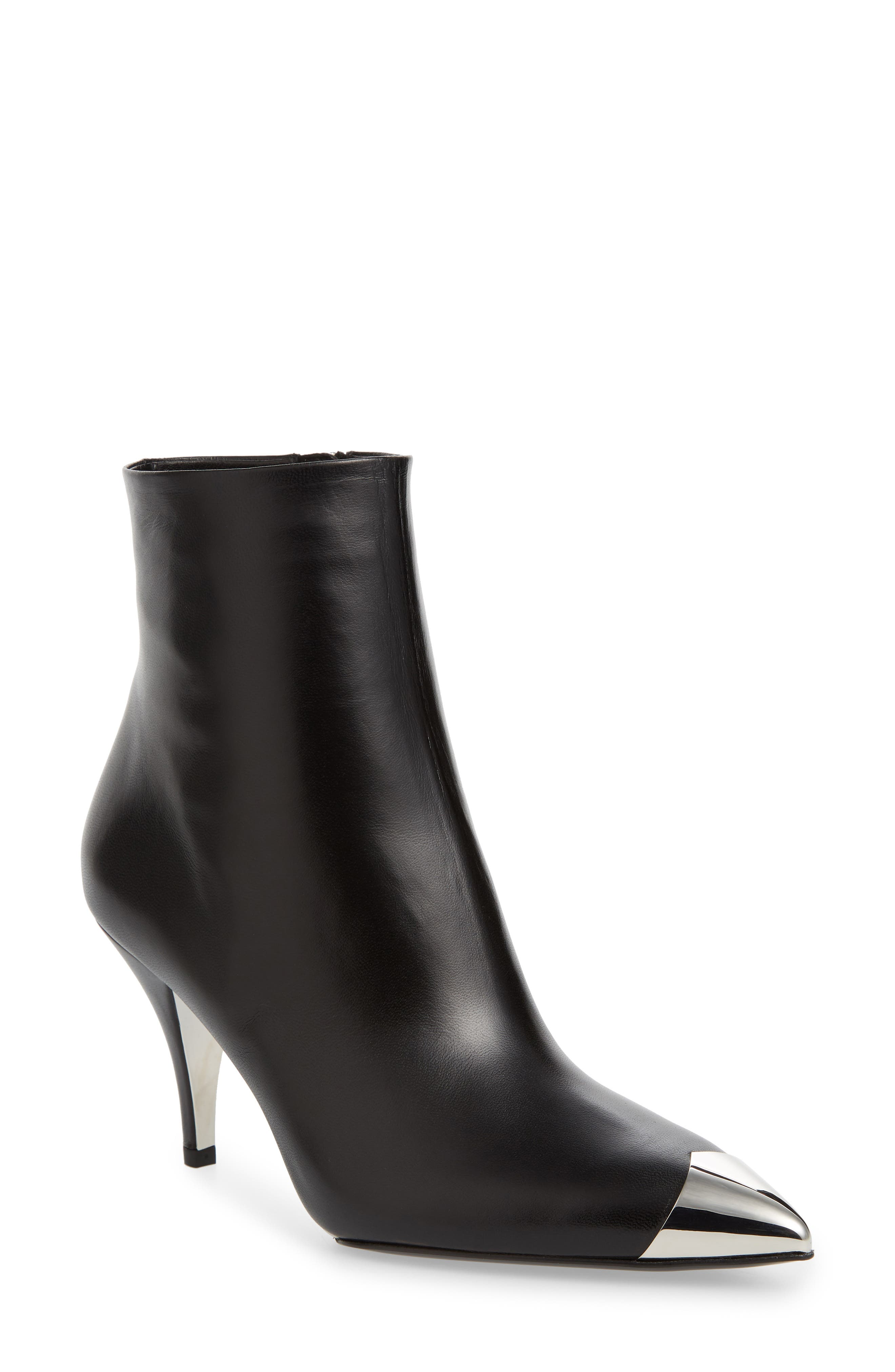 Rosella Cap Pointy Toe Bootie,                             Main thumbnail 1, color,                             BLACK