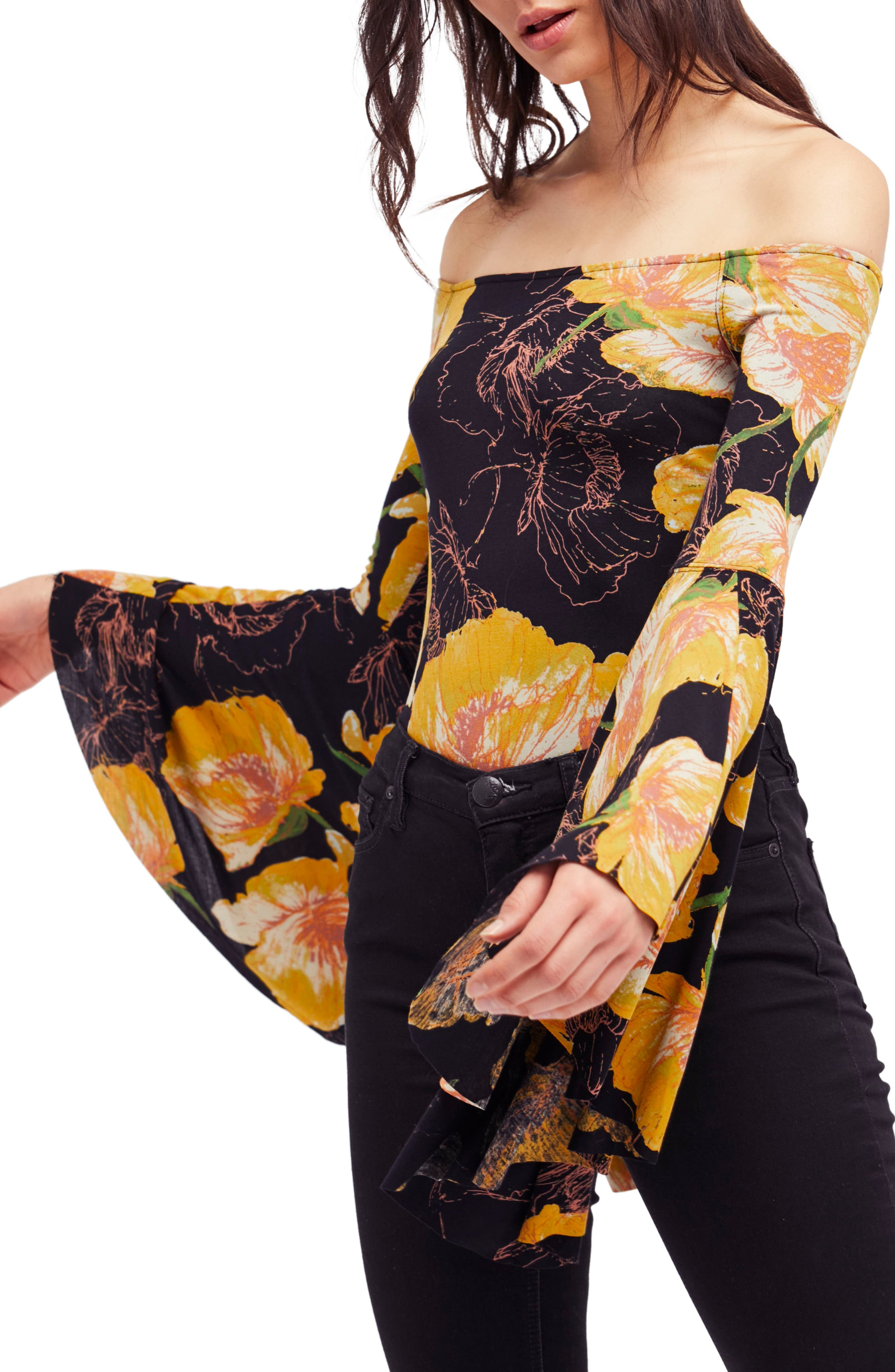 Birds of Paradise Print Off the Shoulder Top,                             Main thumbnail 3, color,