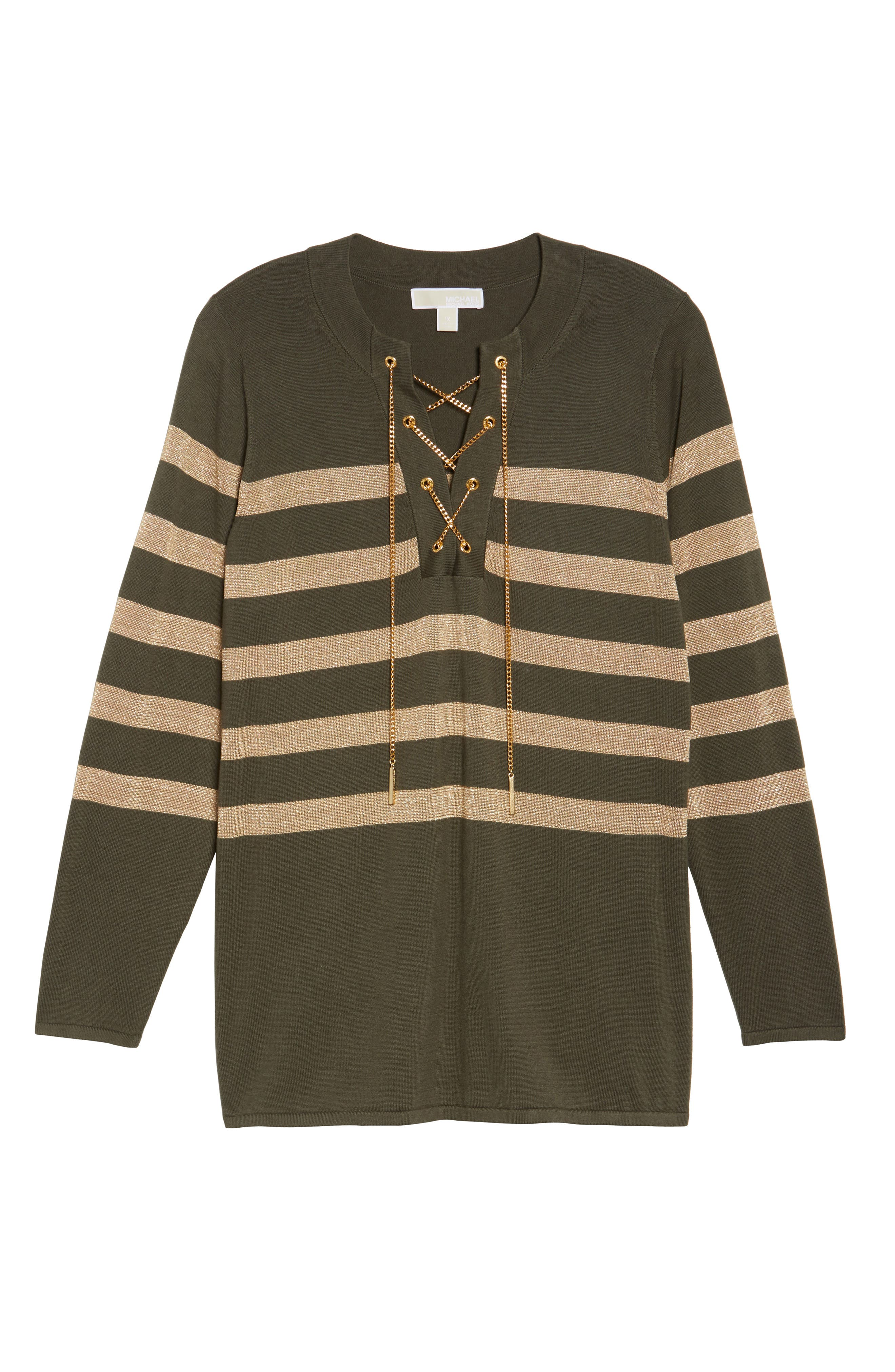 Chain Lace-Up Stripe Sweater,                             Alternate thumbnail 12, color,