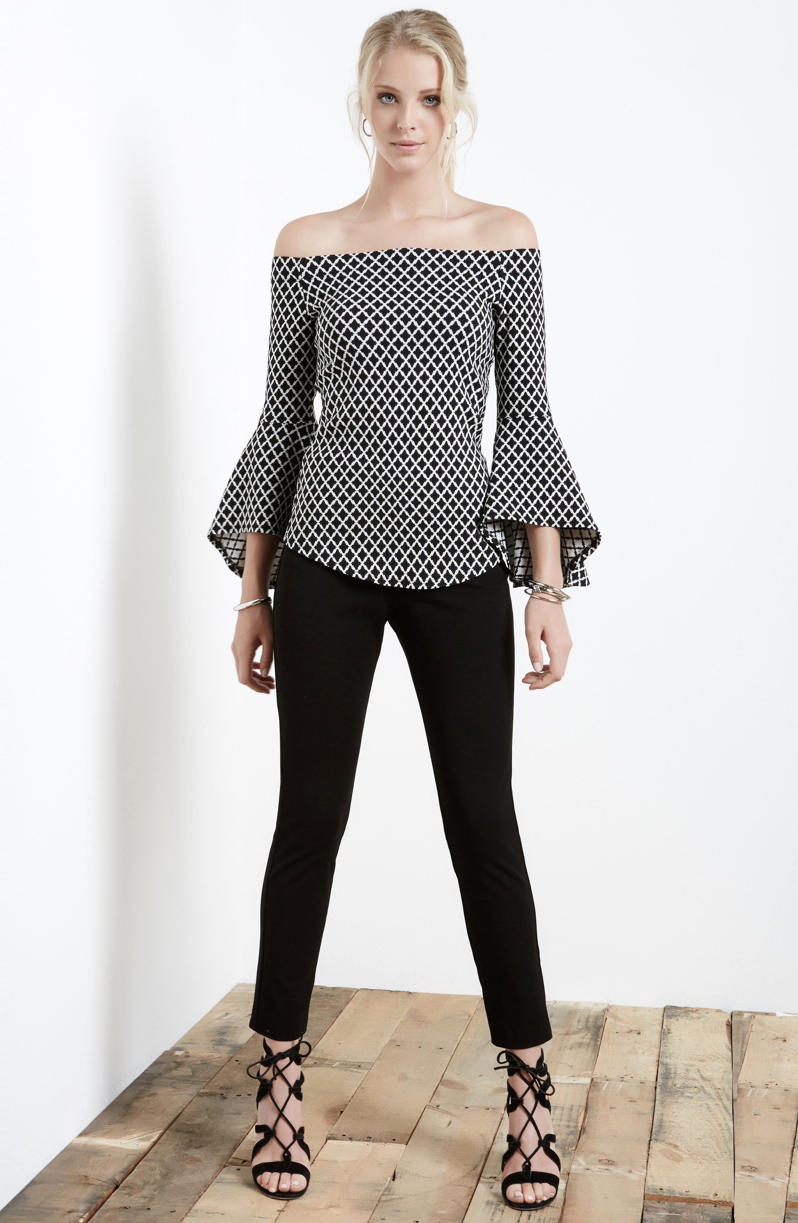 Diamond Print Off the Shoulder Bell Sleeve Top,                             Alternate thumbnail 3, color,                             013