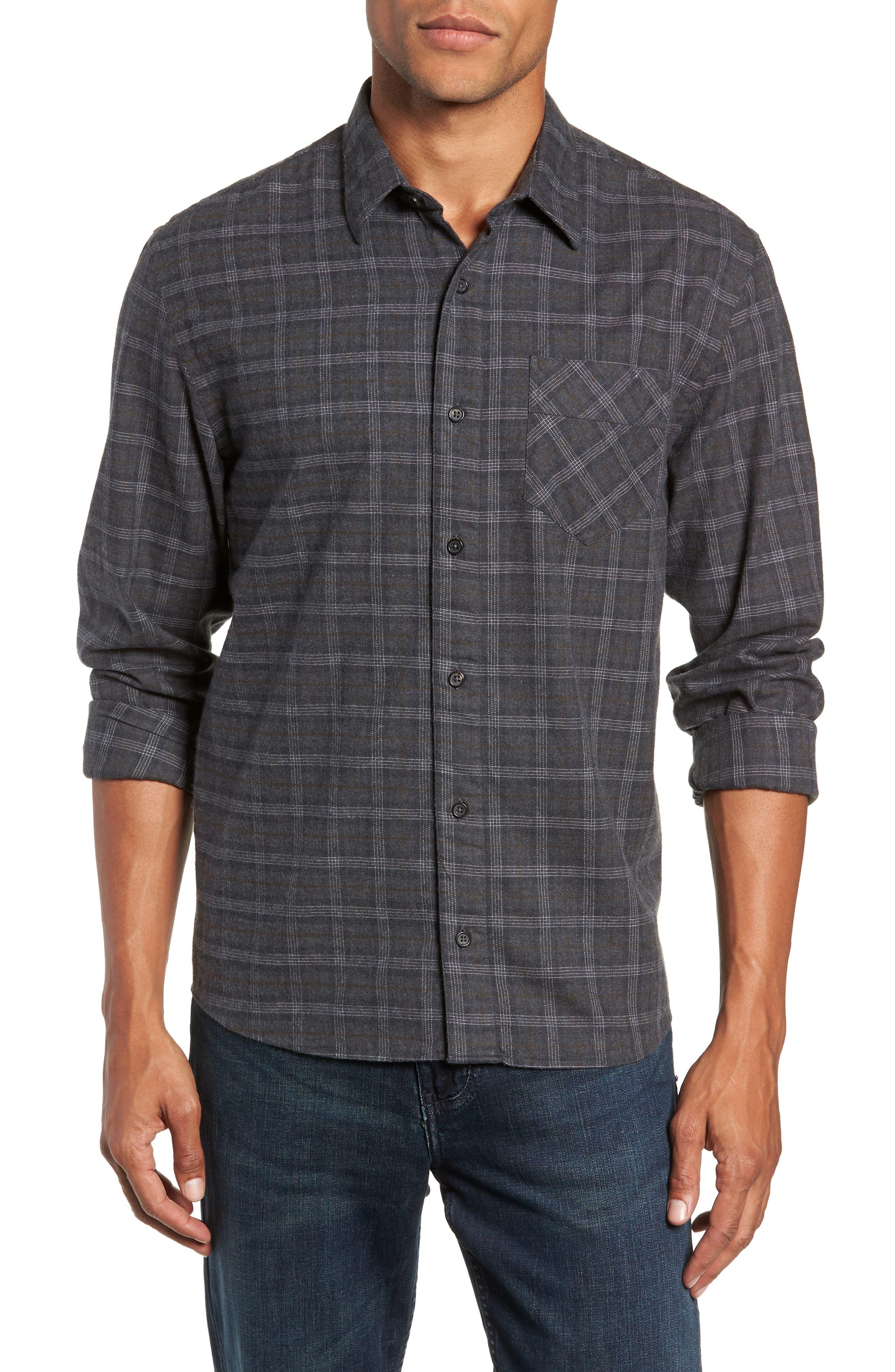 Walland Regular Fit Plaid Sport Shirt,                         Main,                         color, DARK GREY