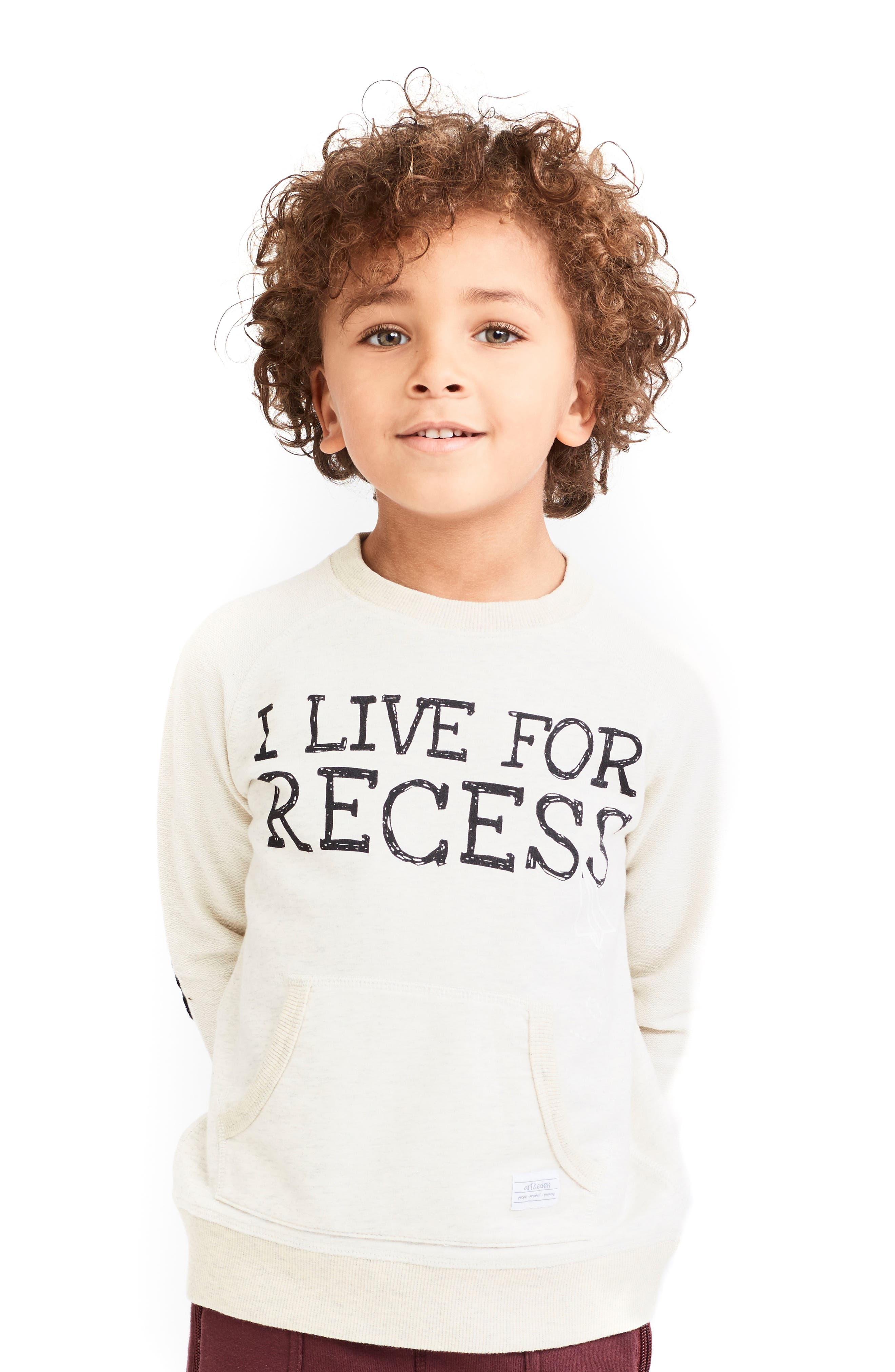 I Live For Recess Long Sleeve Pocket Sweatshirt,                         Main,                         color,