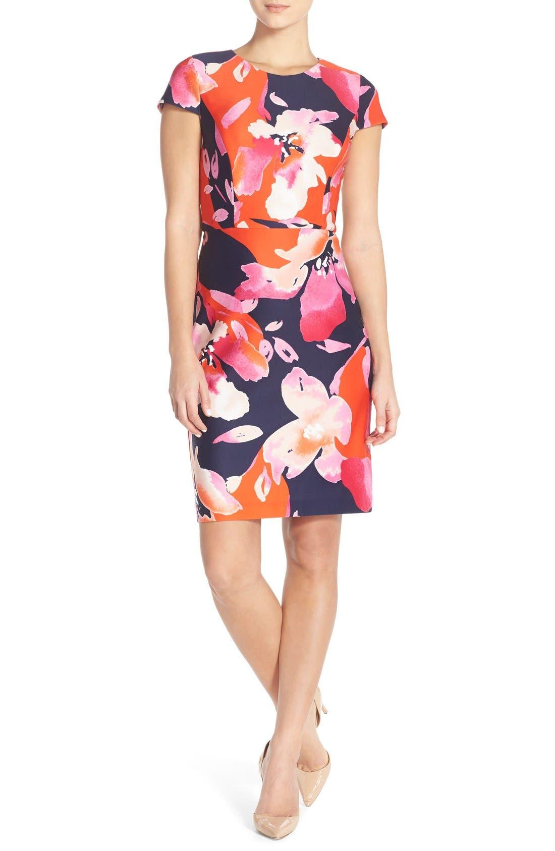 Floral Scuba Sheath Dress,                             Main thumbnail 1, color,                             650
