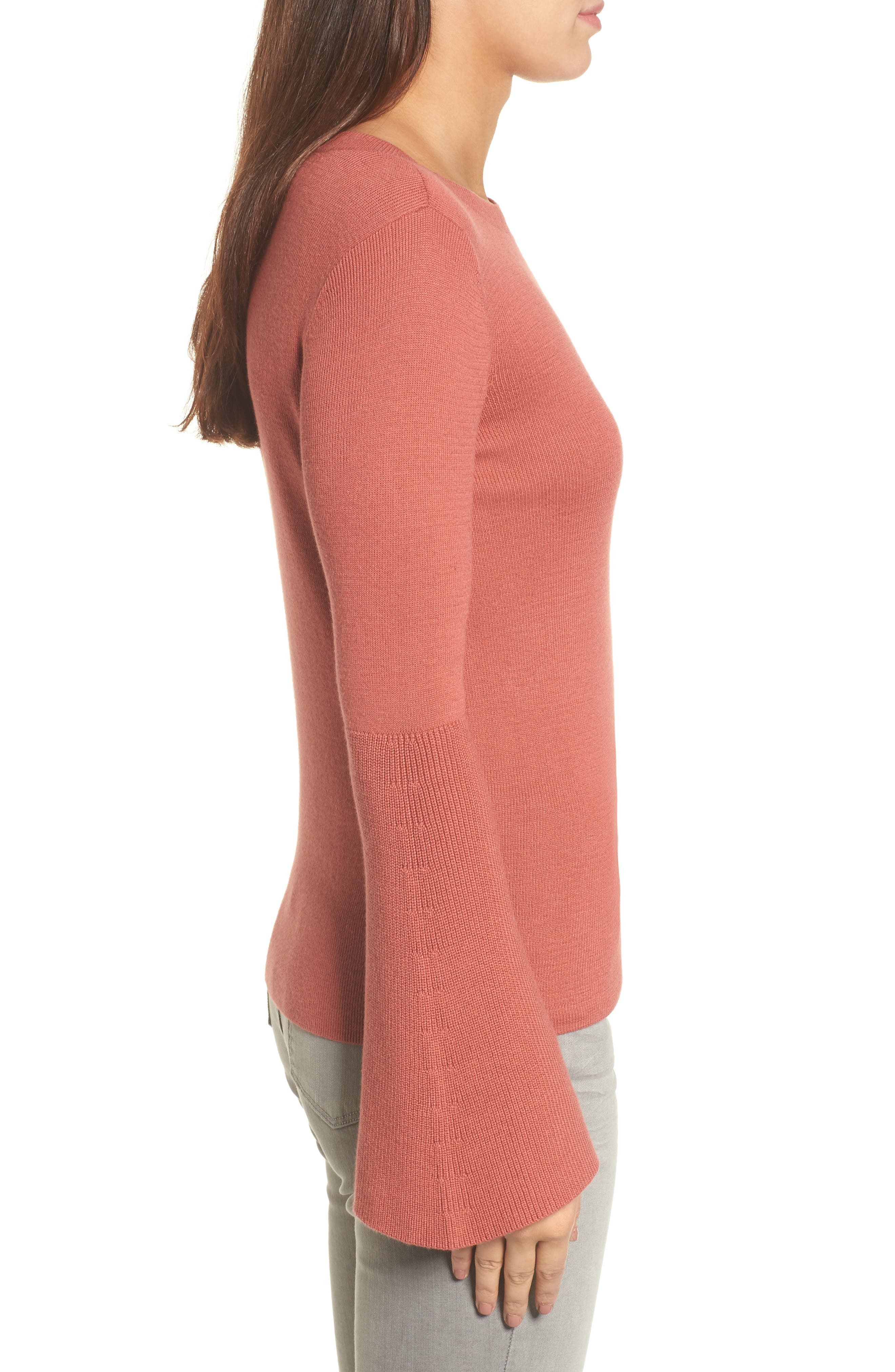 Bell Sleeve Rib Sweater,                             Alternate thumbnail 12, color,