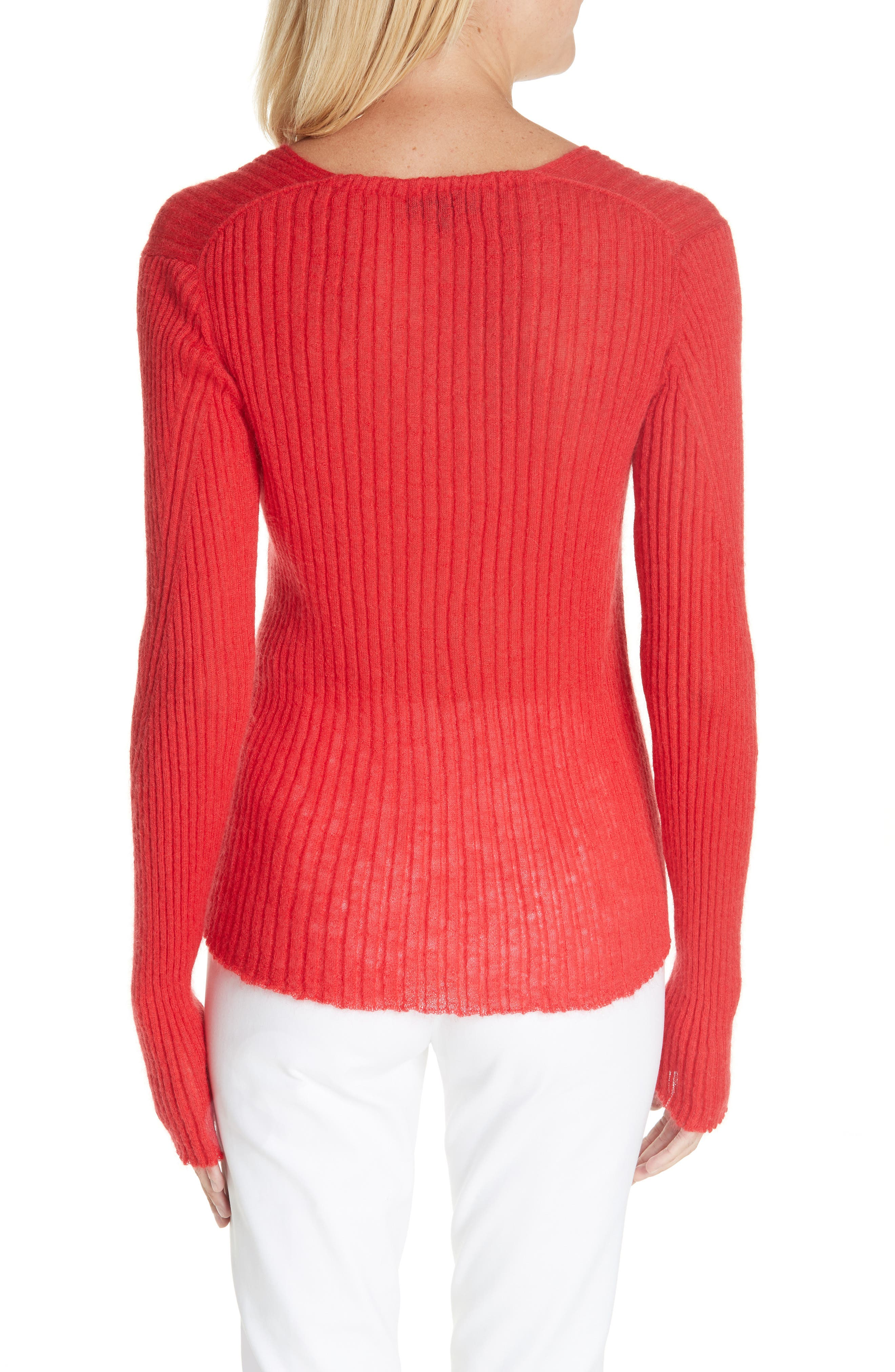 Donna Mohair & Wool Blend Sweater,                             Alternate thumbnail 2, color,                             RED