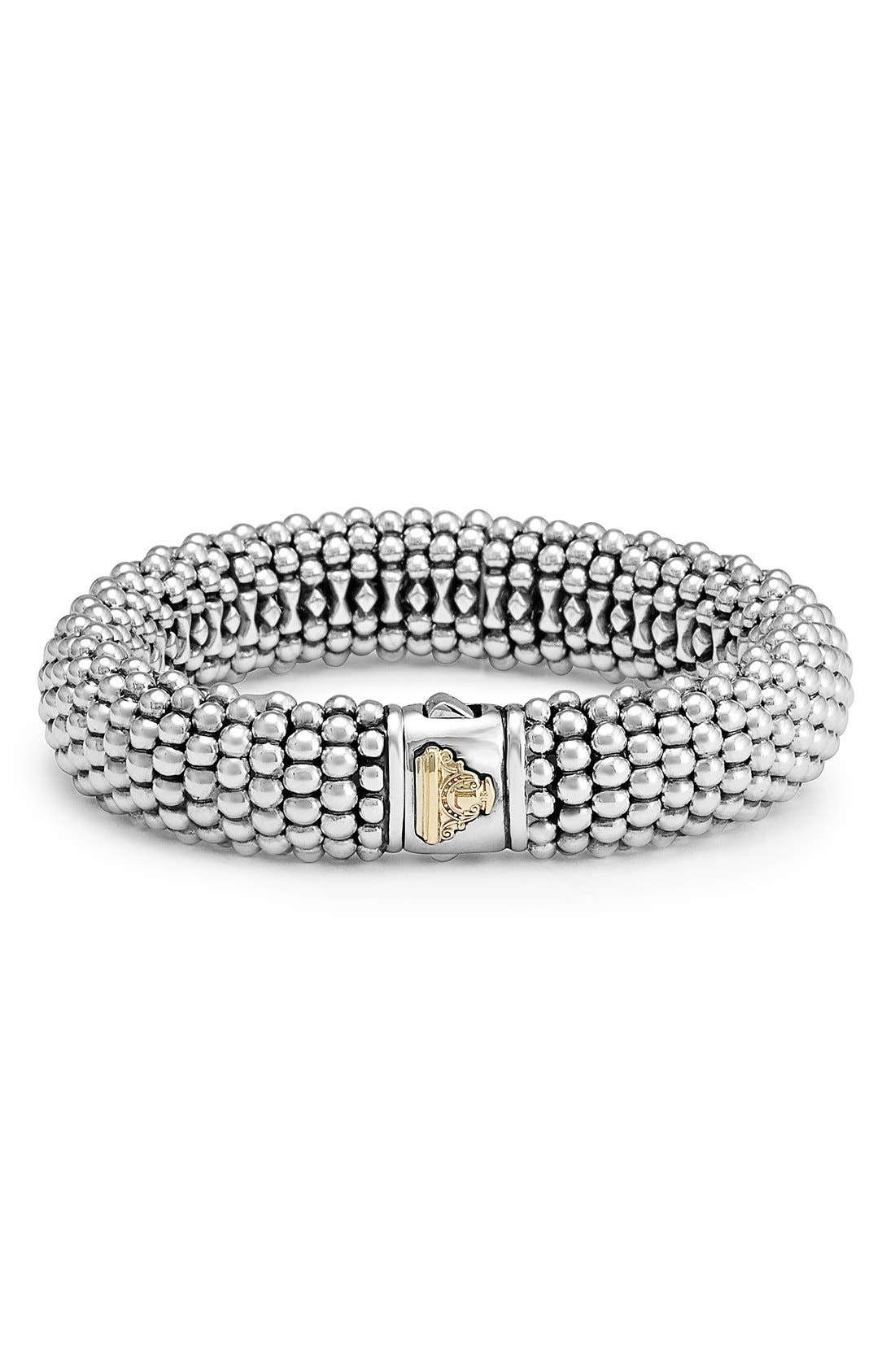 Signature Caviar Wide Rope Bracelet,                             Alternate thumbnail 2, color,                             SILVER/ GOLD