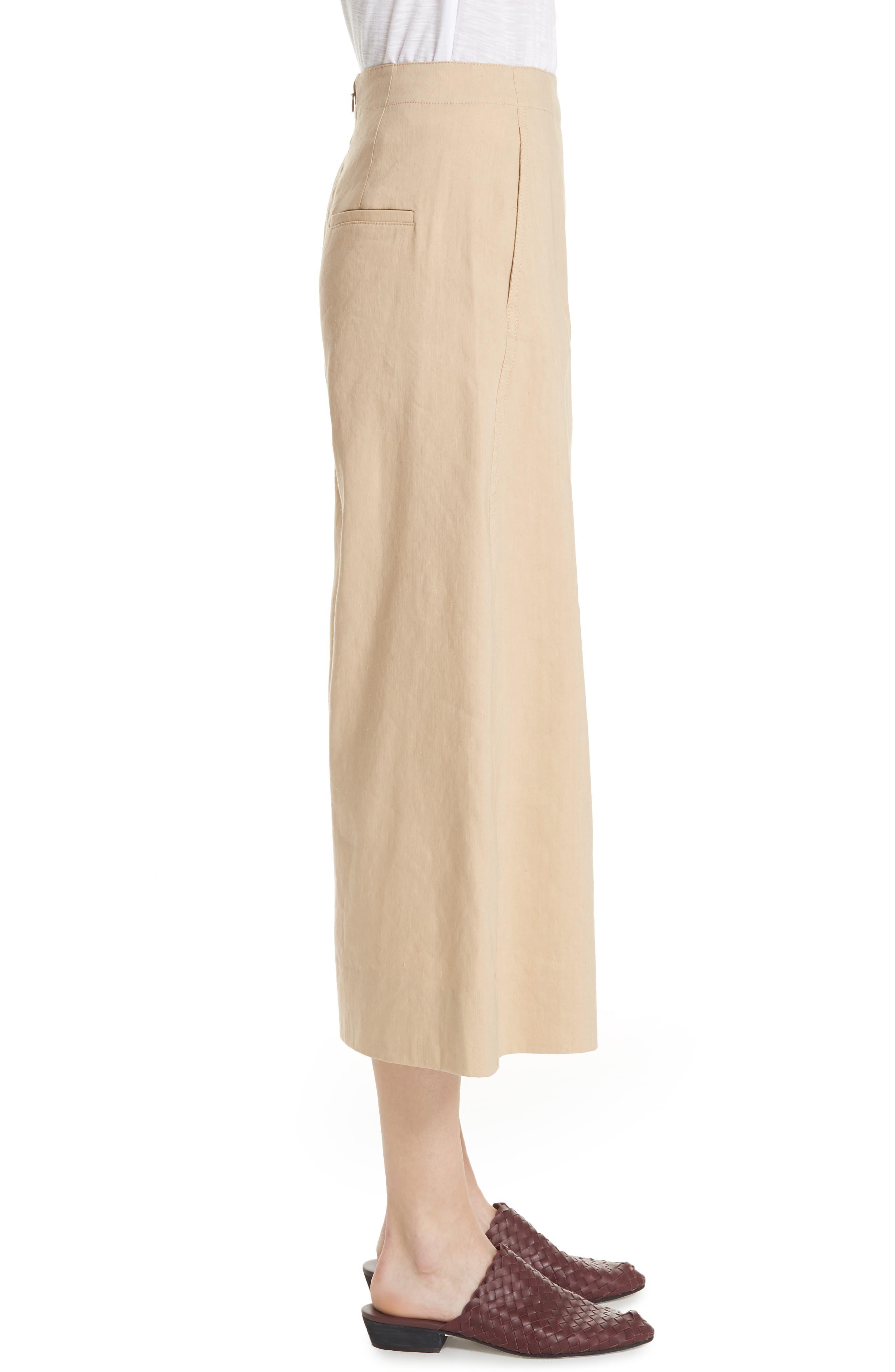 High Rise Linen Blend Culottes,                             Alternate thumbnail 3, color,                             KHAKI