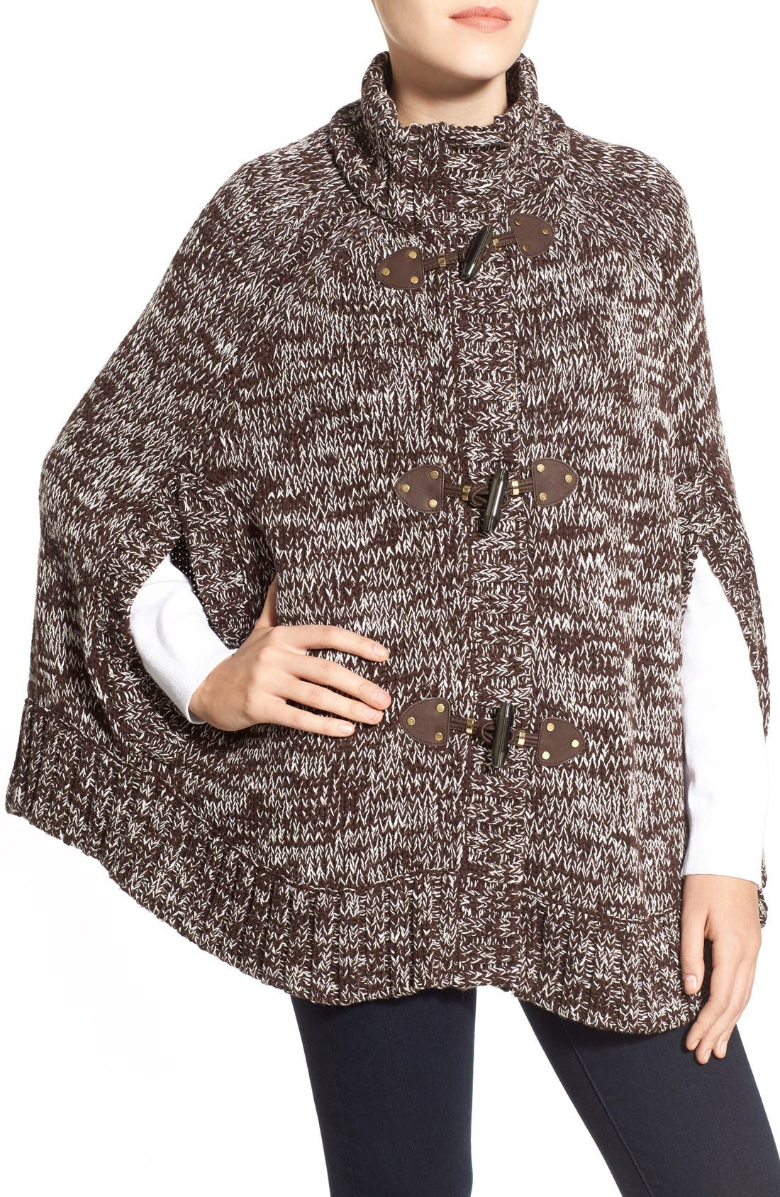 Toggle Front Sweater Knit Cape,                             Alternate thumbnail 5, color,                             201