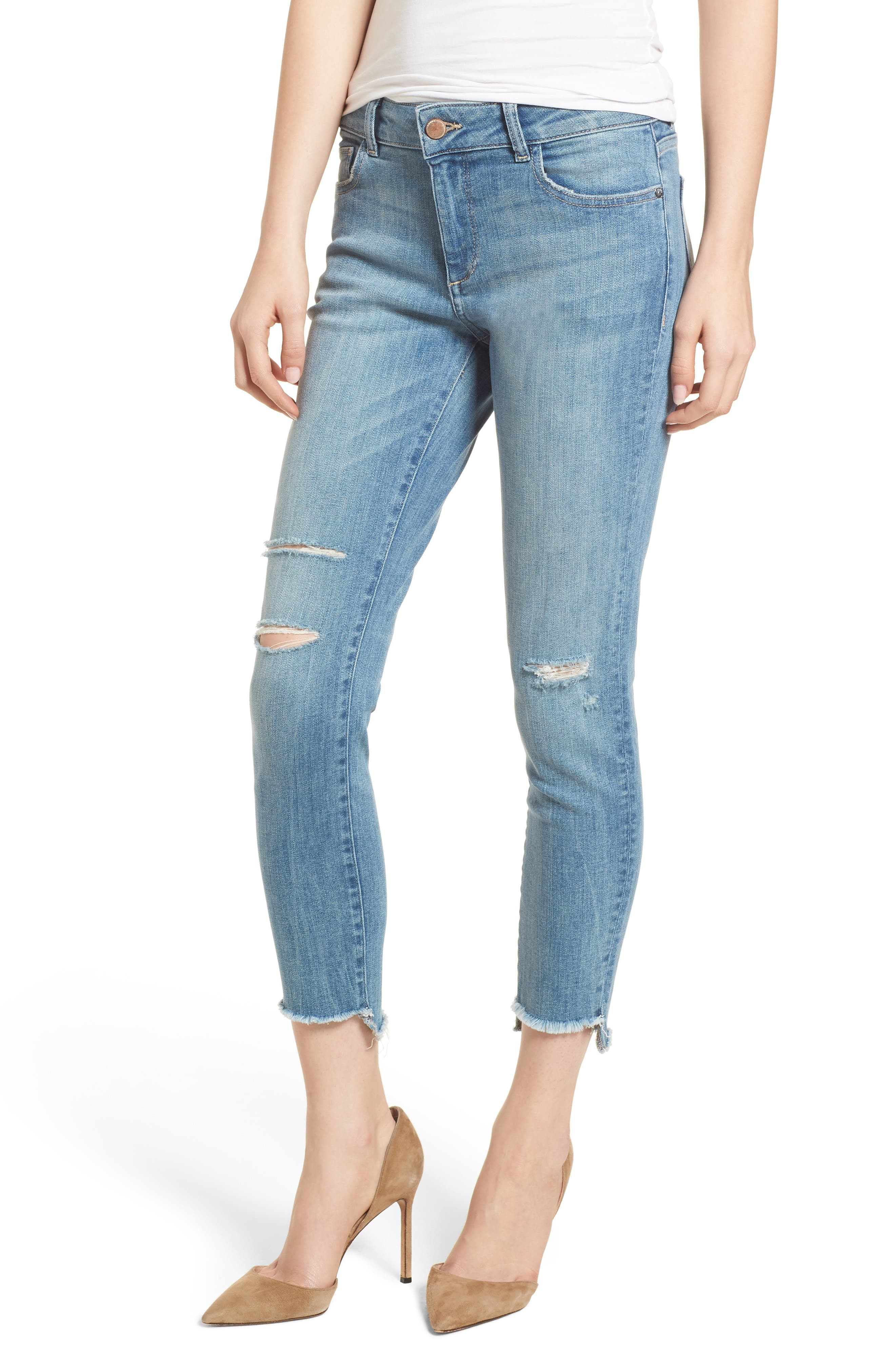 Florence Instasculpt Ripped Crop Skinny Jeans,                         Main,                         color, 429