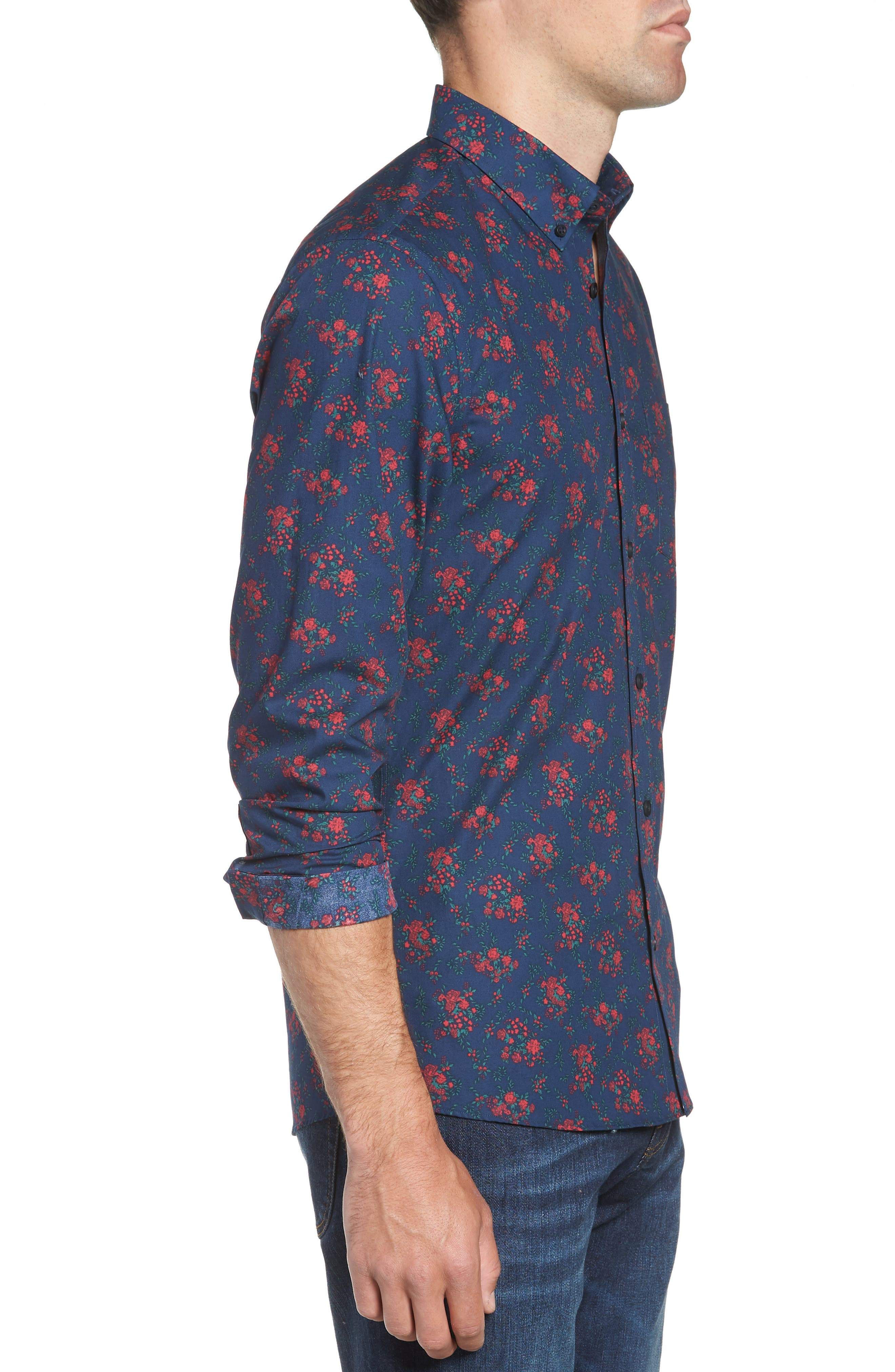 Slim Fit Print No-Iron Sport Shirt,                             Alternate thumbnail 4, color,                             NAVY NIGHT RED FLORAL