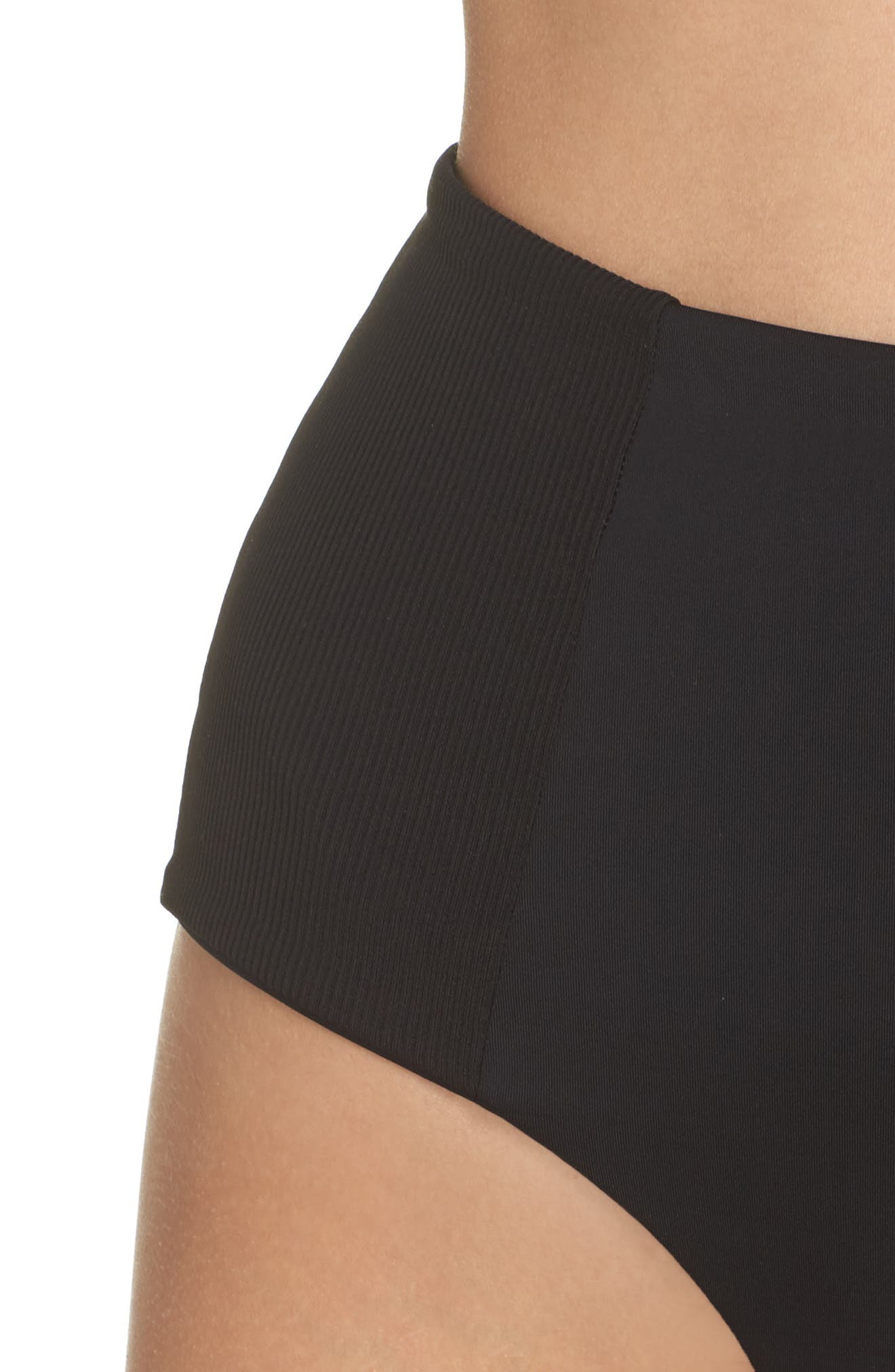 Jackie High Waist Bikini Bottoms,                             Alternate thumbnail 4, color,                             BLACK