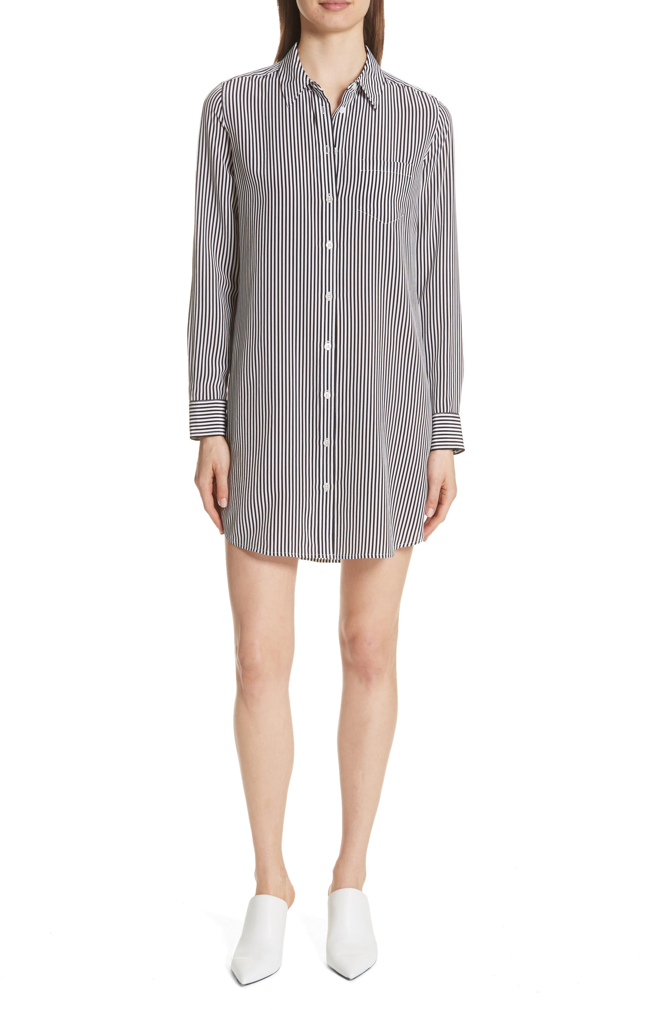 Brett Stripe Silk Shirtdress,                         Main,                         color, 002