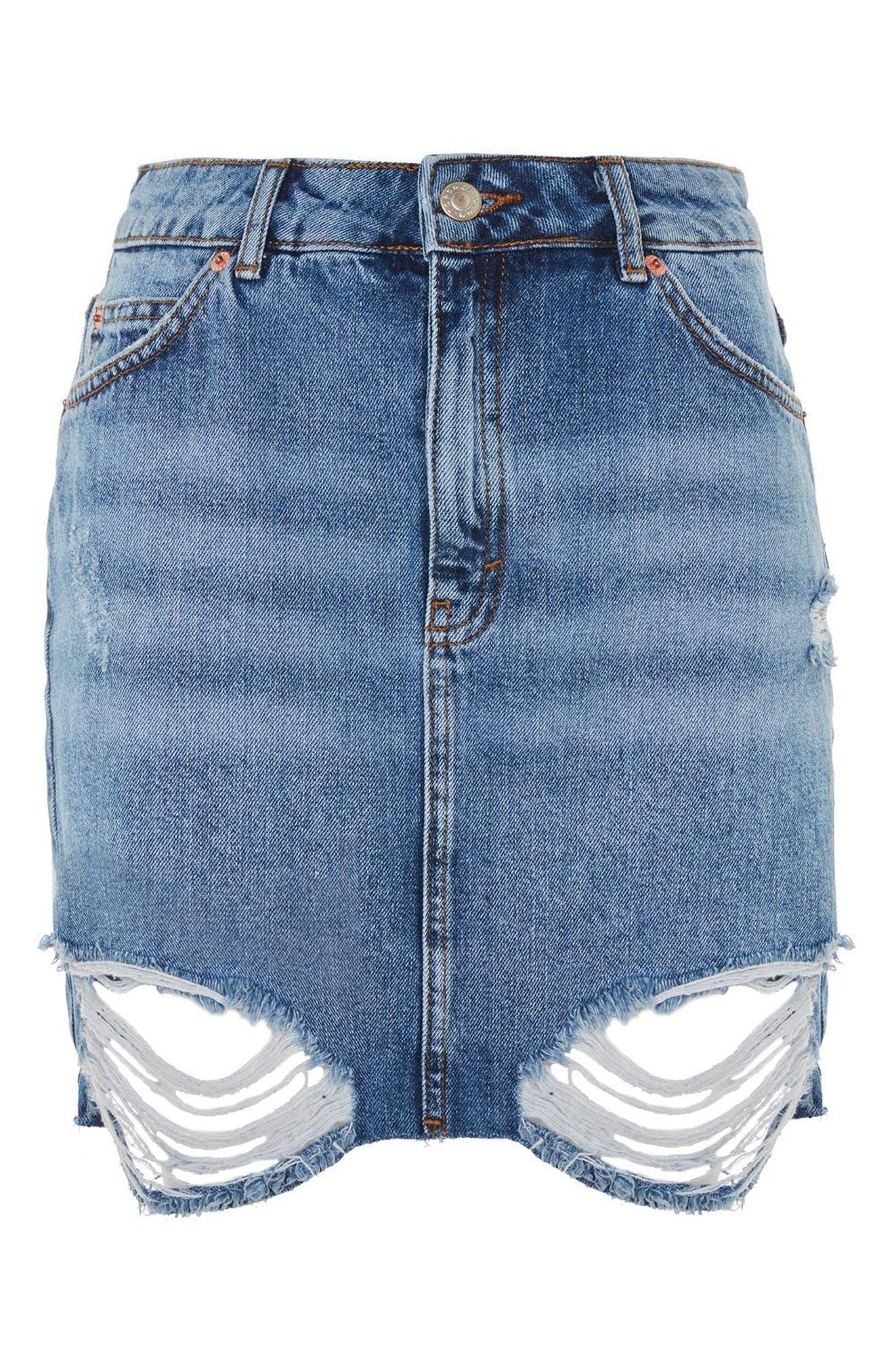 Ripped Denim Miniskirt,                             Alternate thumbnail 3, color,                             400