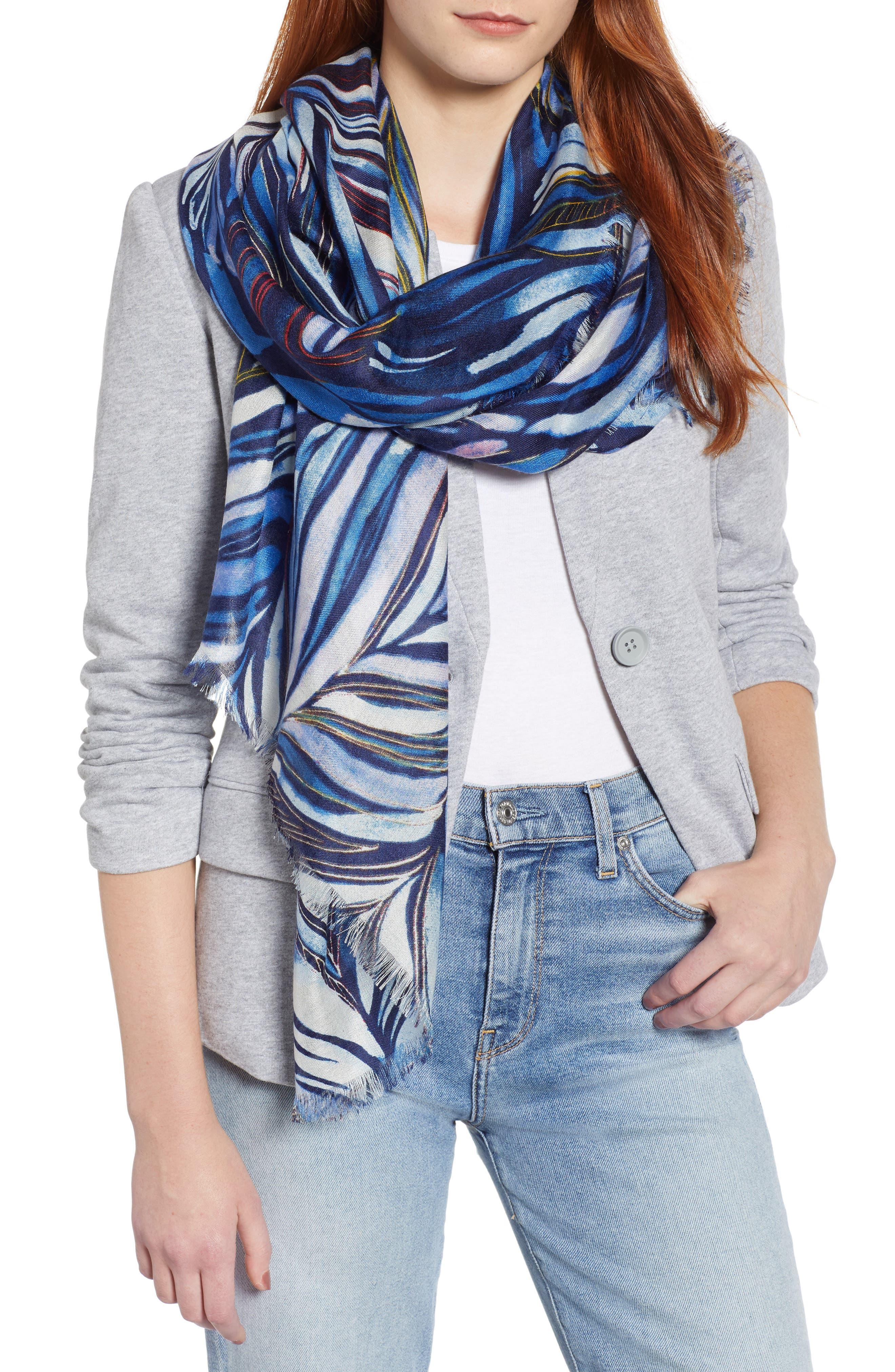 Eyelash Trim Print Cashmere & Silk Wrap,                             Main thumbnail 6, color,