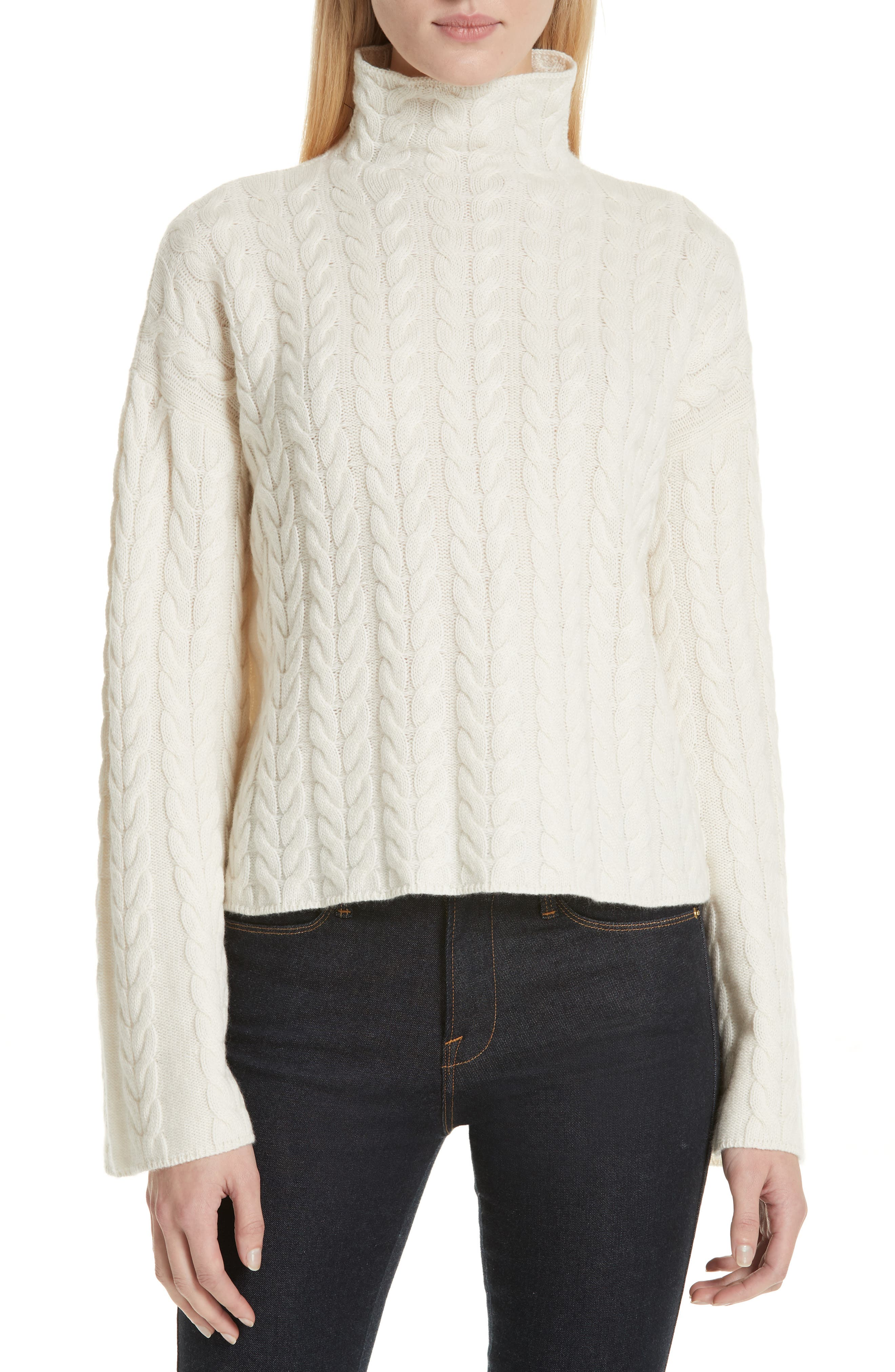Cable Cashmere Sweater,                             Main thumbnail 1, color,                             IVORY/ IVORY
