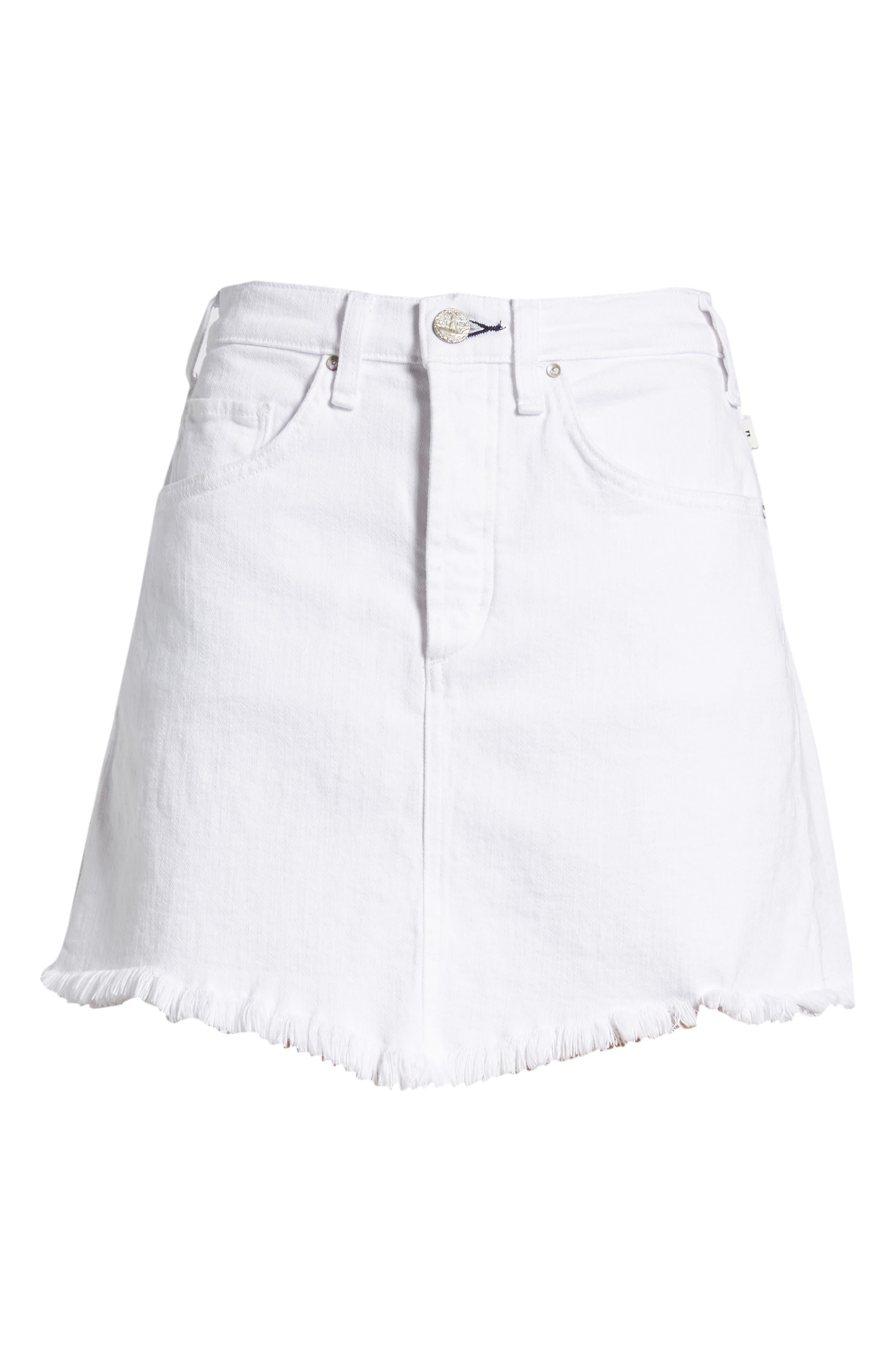 Izabel Angled Hem Denim Skirt,                             Alternate thumbnail 7, color,                             WHITE LIE