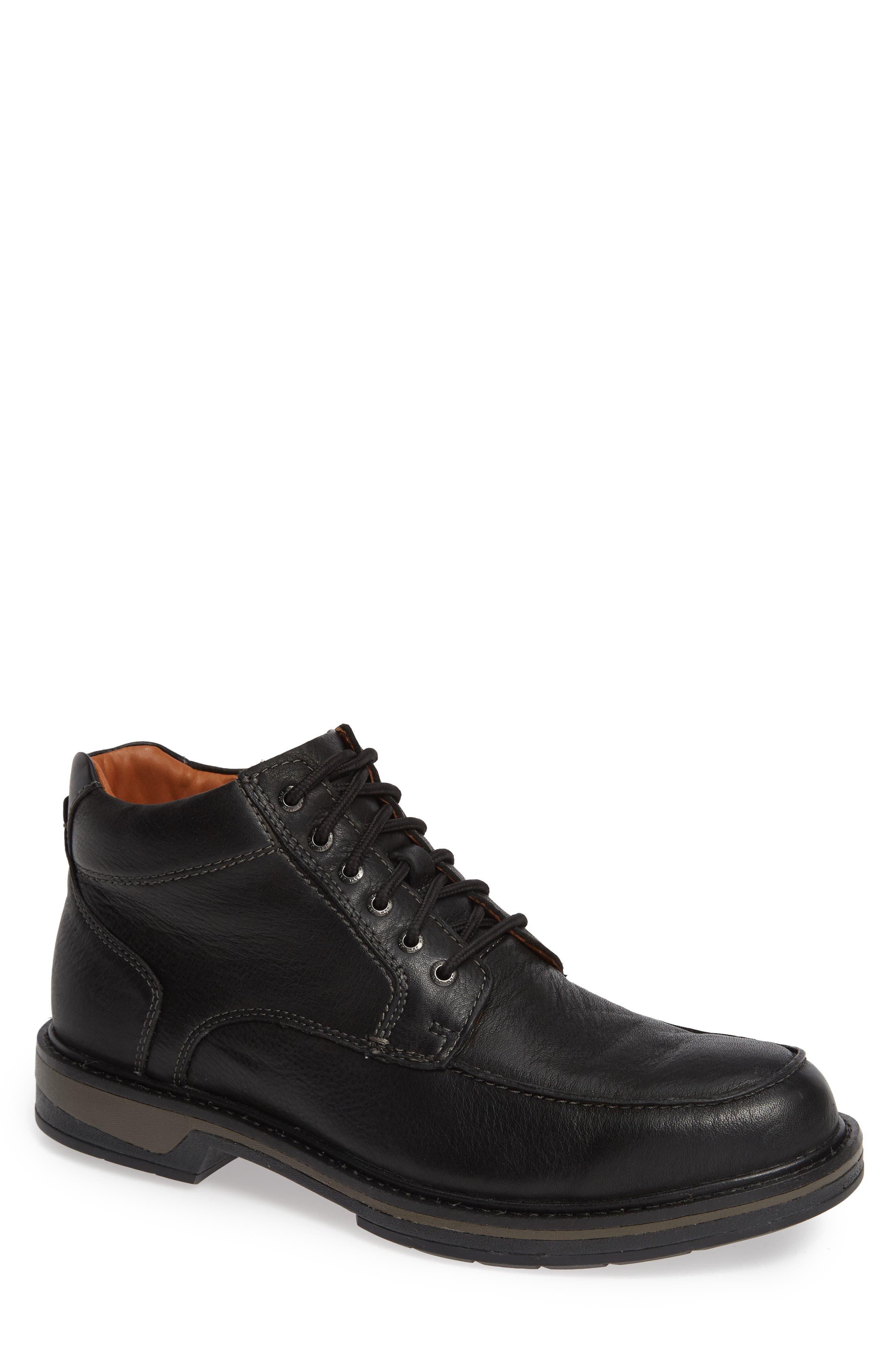 Rutledge Waterproof Moc Toe Boot,                             Main thumbnail 1, color,                             BLACK LEATHER