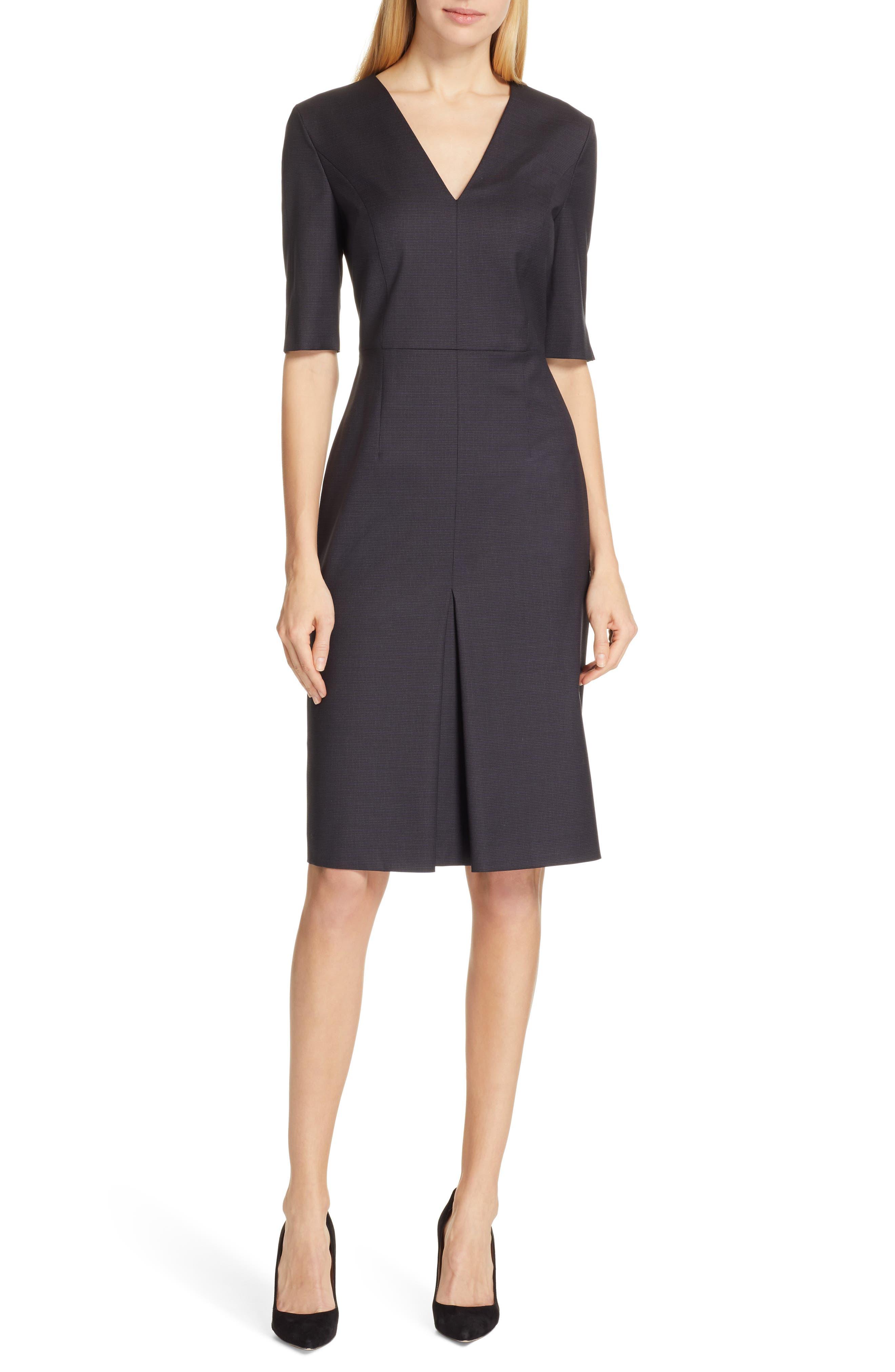BOSS Dalissa Pepita Wool Dress, Main, color, BLACK FANTASY