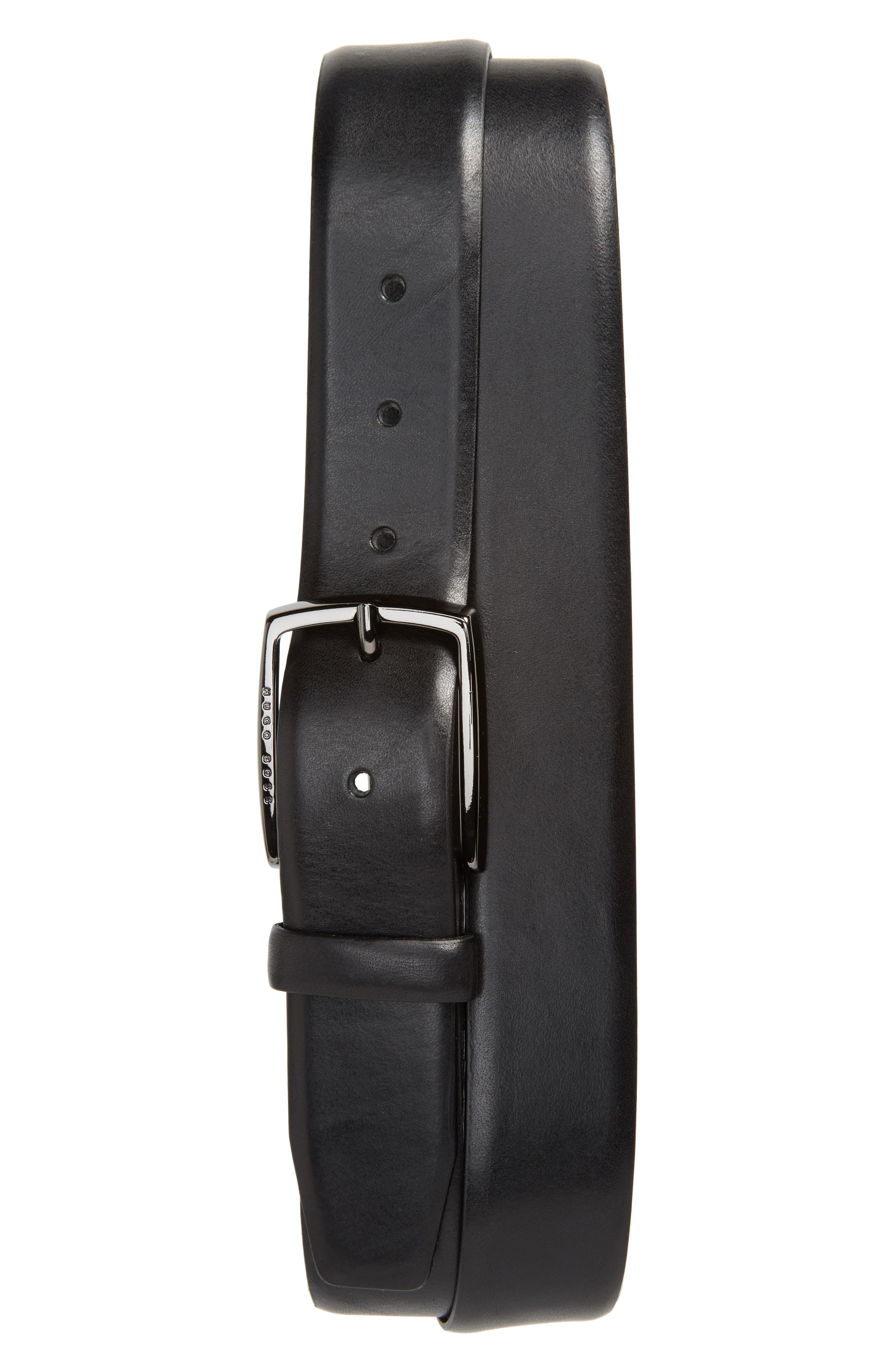 BOSS Celie Leather Belt, Main, color, BLACK