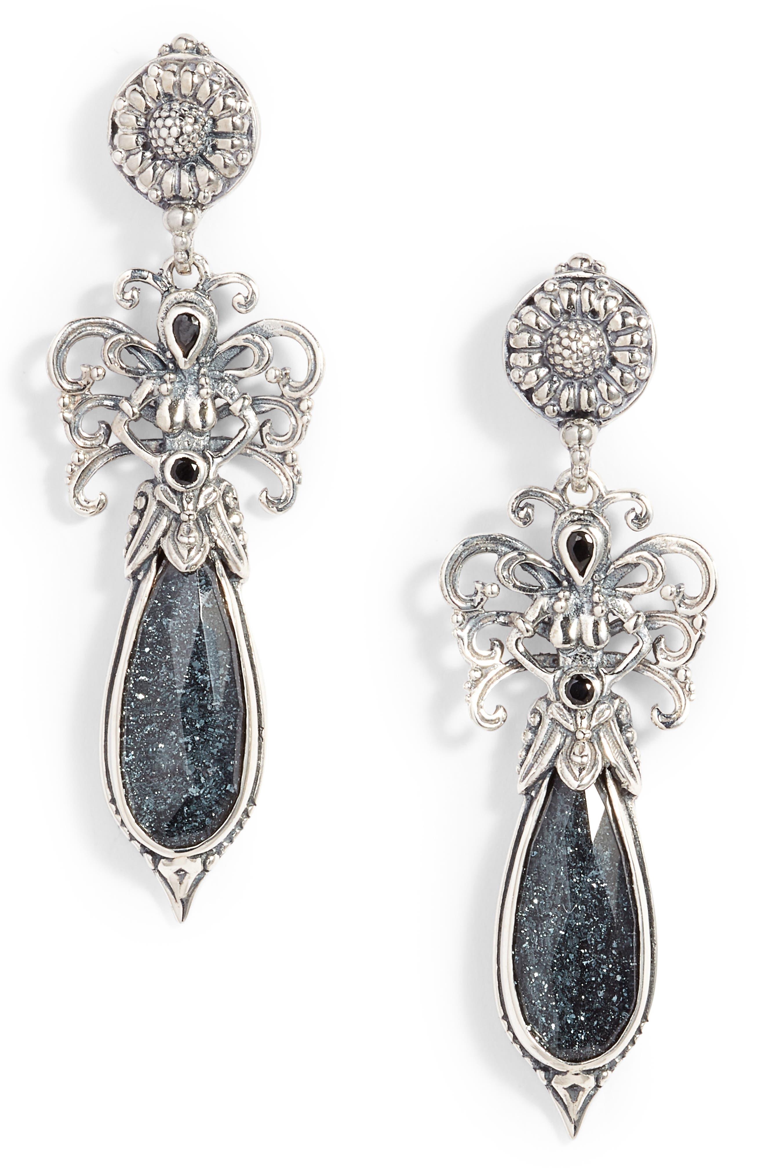 Santorini Spinel Drop Earrings,                         Main,                         color, SILVER/ HEMATITE