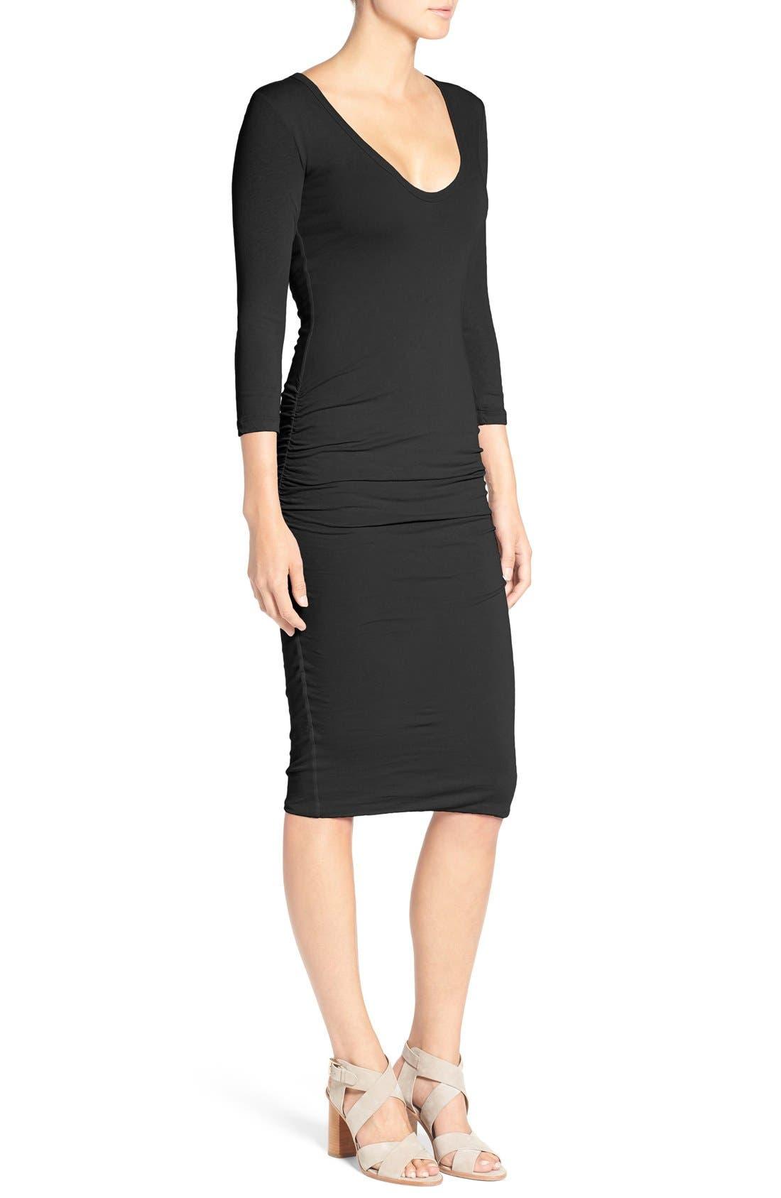 V-Neck Ruched Dress,                             Alternate thumbnail 4, color,                             001