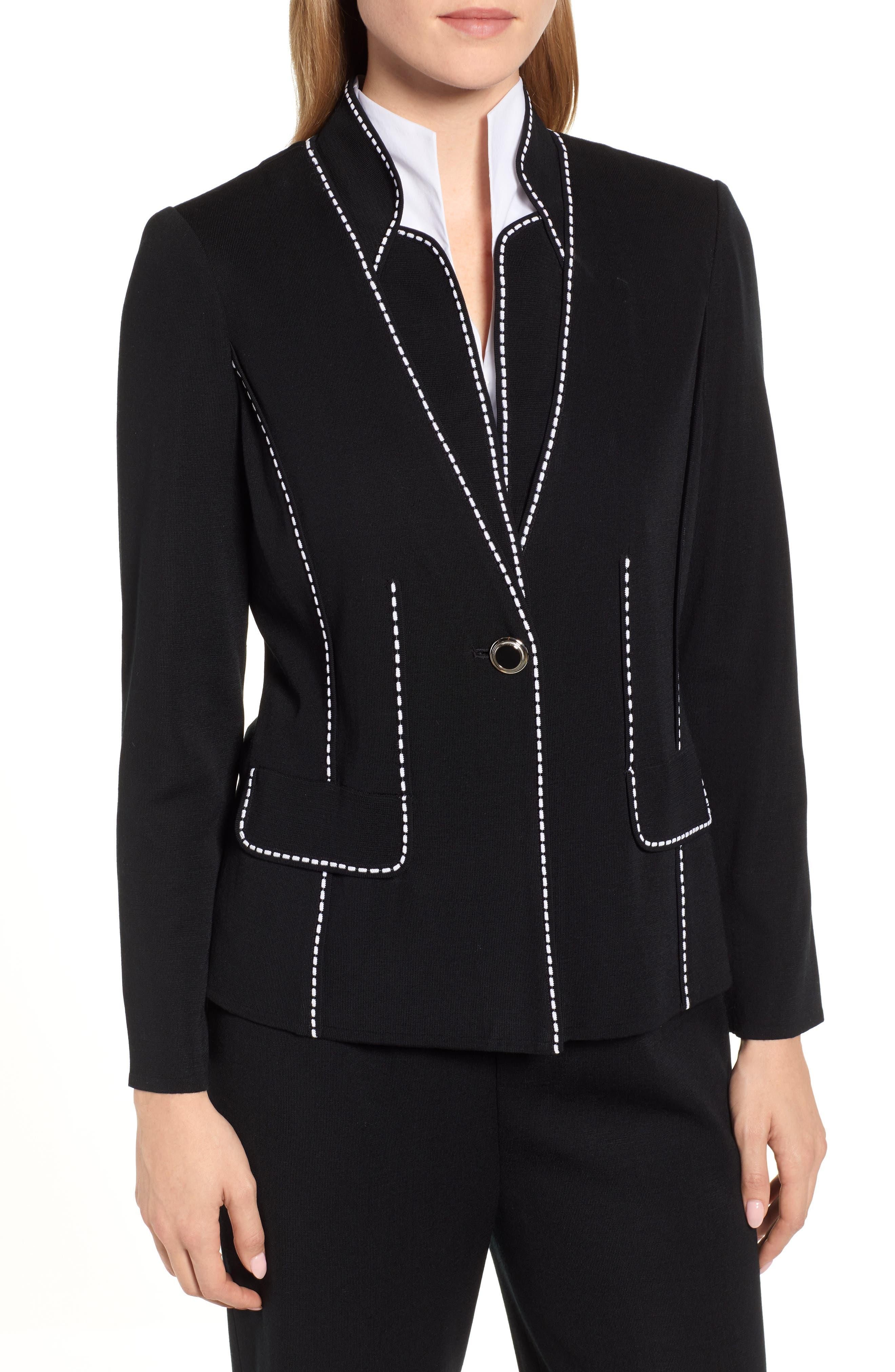 Contrast Jacquard Sweater Jacket,                             Main thumbnail 1, color,                             BLACK/ WHITE