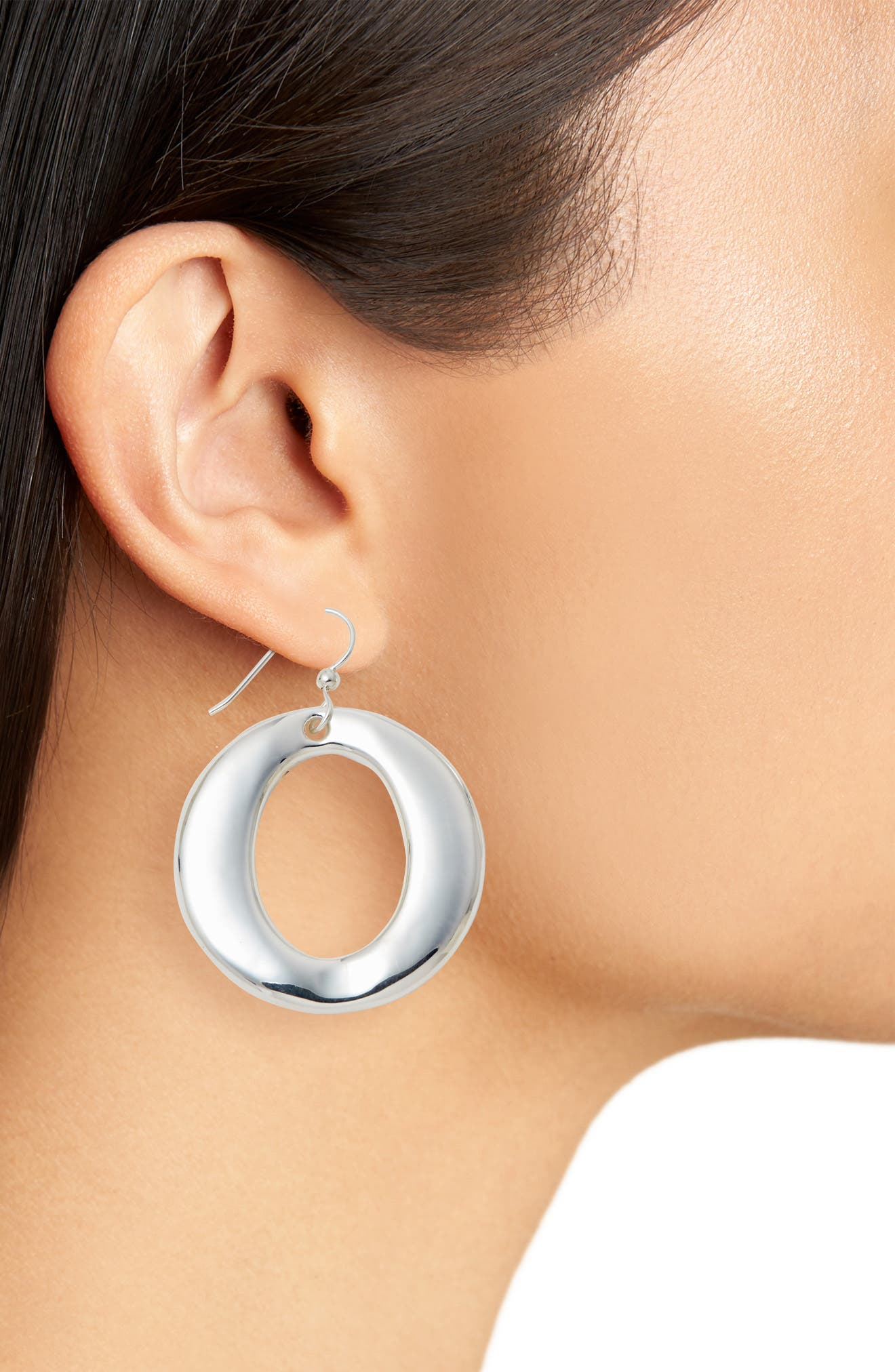 Round Open Wire Hoop Earrings,                             Alternate thumbnail 2, color,                             SILVER