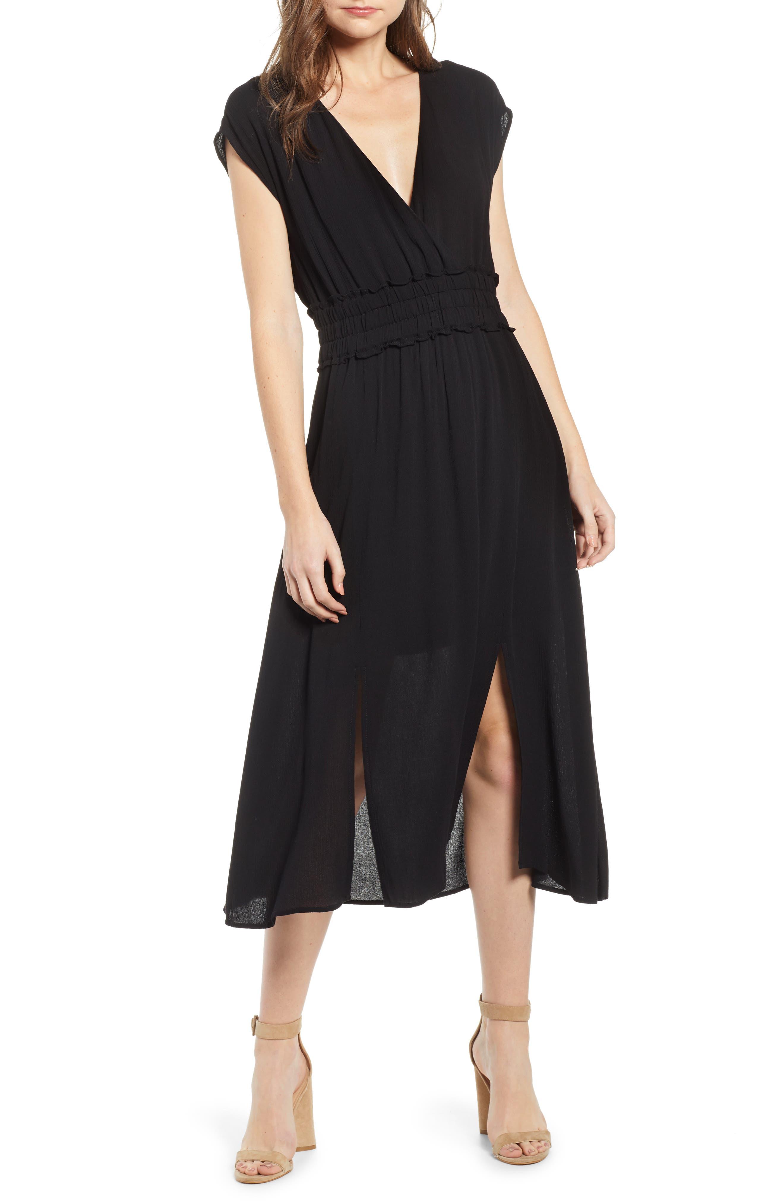 Wayf Leanne Double Slit Smocked Midi Dress, Black