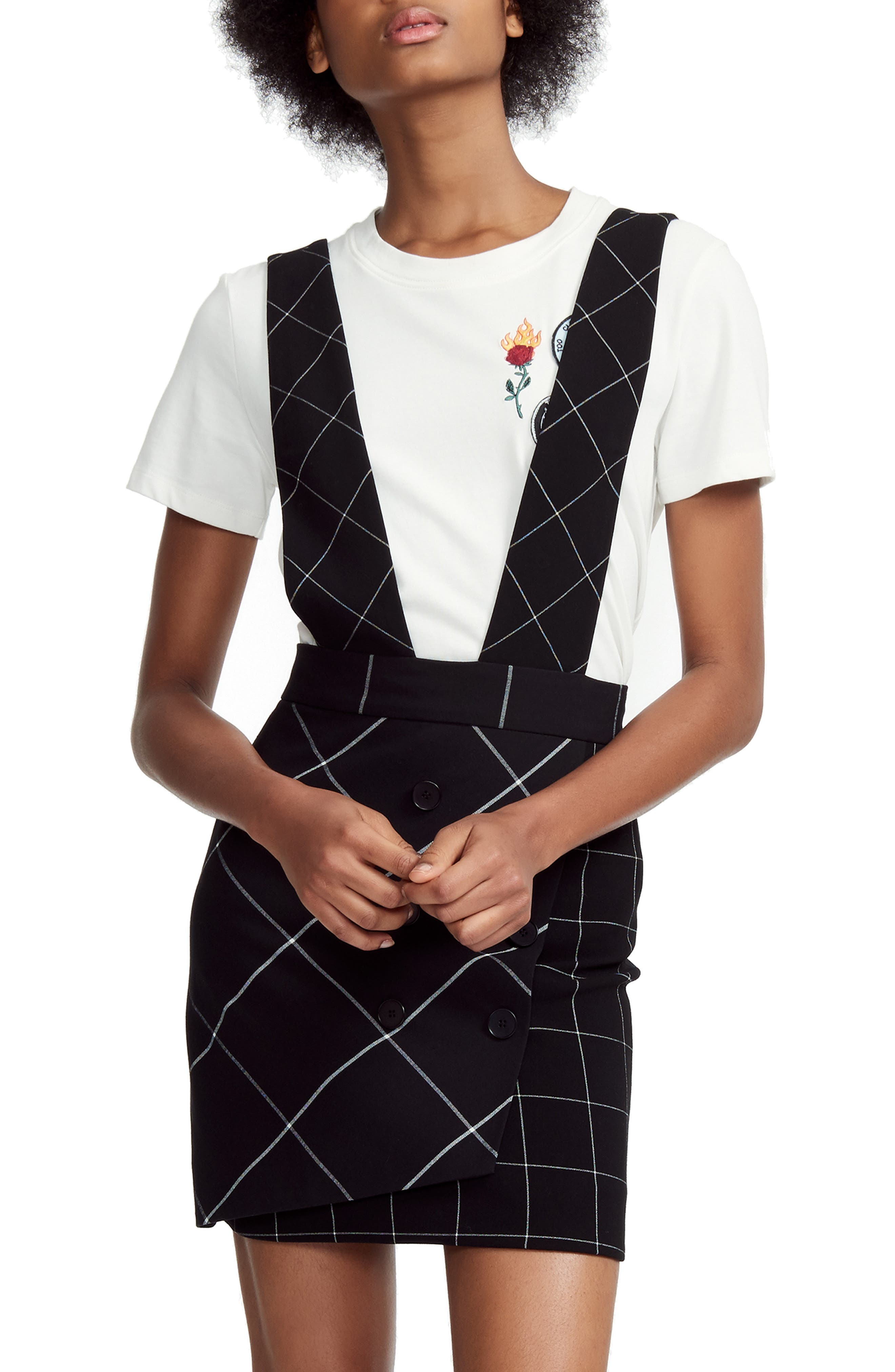 Joly Checked Overalls-Style Skirt