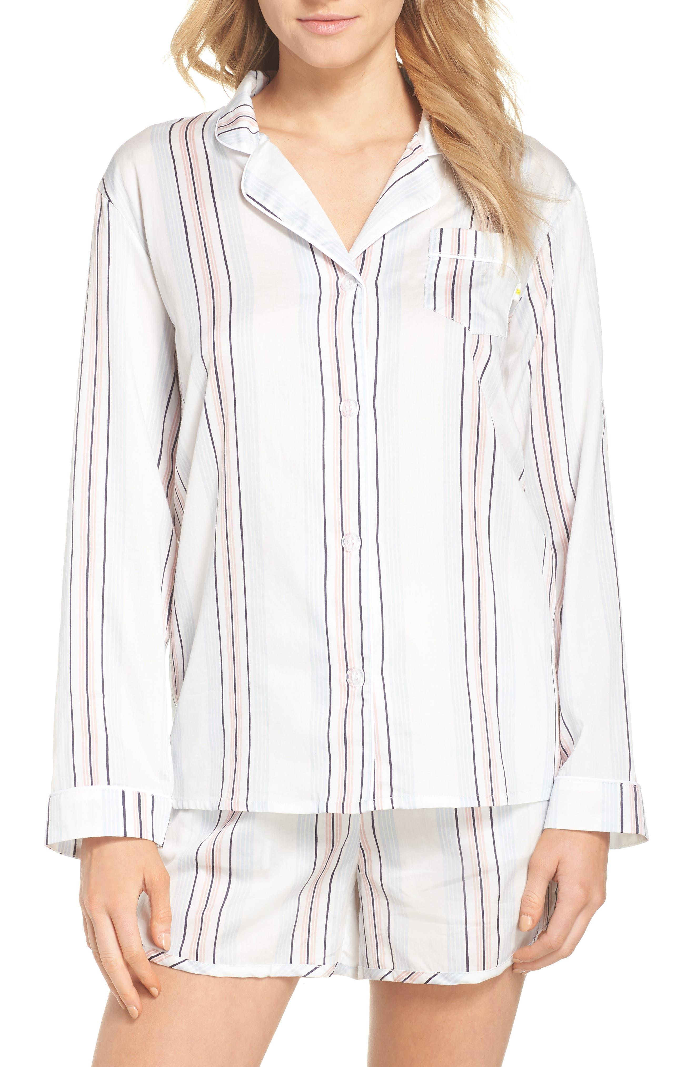 Candy Stripe Short Pajamas,                             Main thumbnail 1, color,                             110