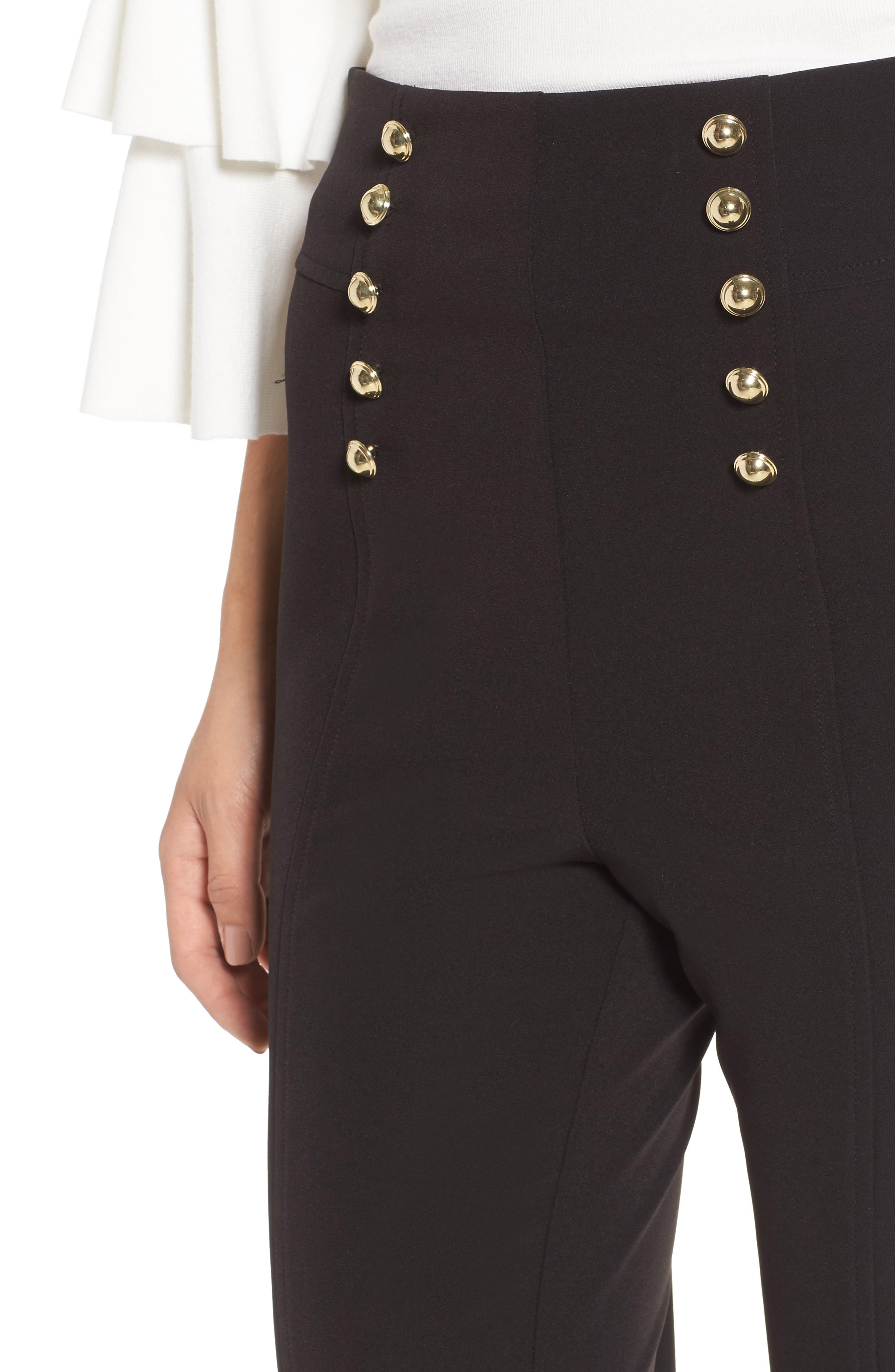 Button High Waist Ankle Pants,                             Alternate thumbnail 4, color,                             001