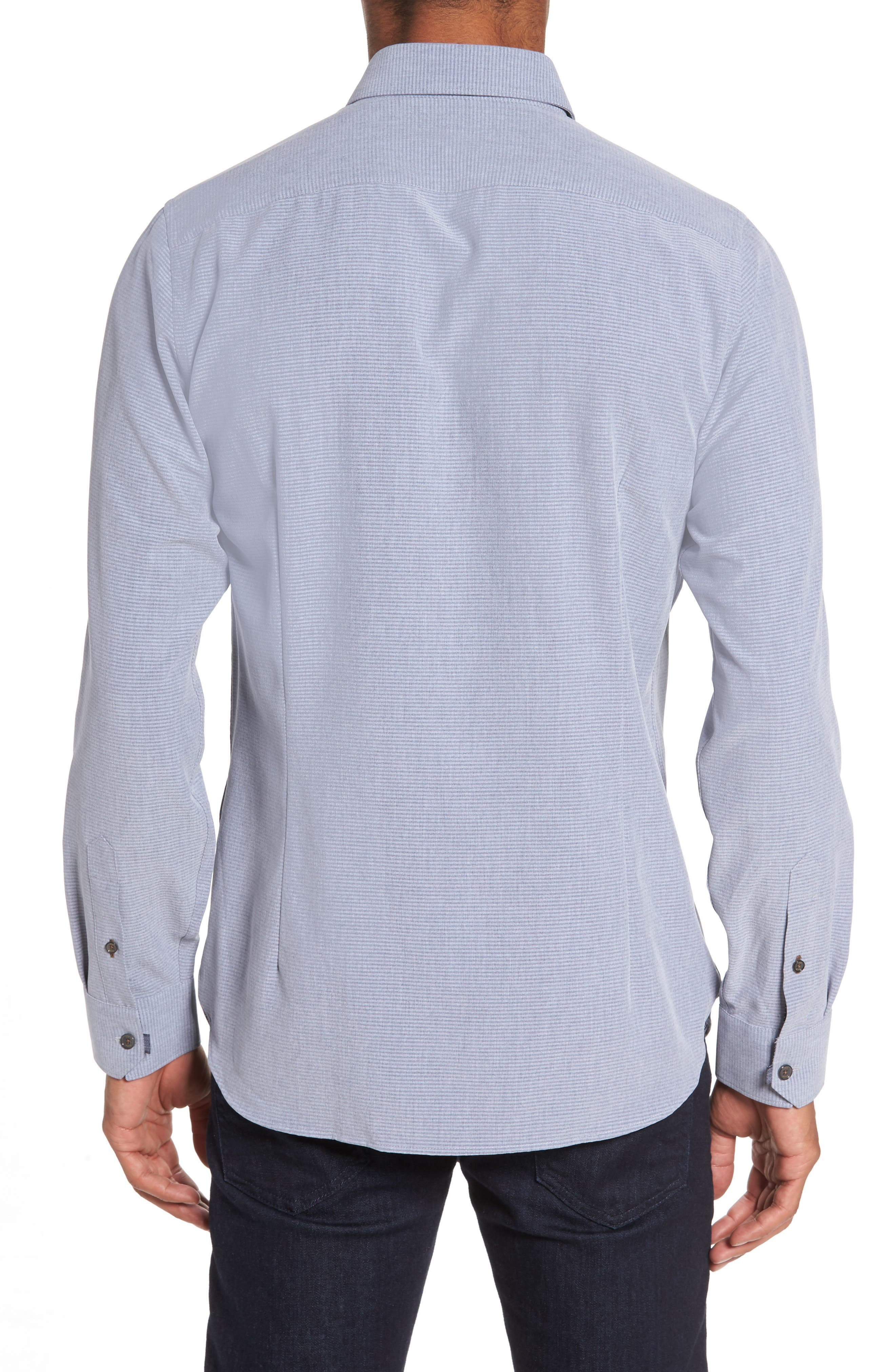 Mettro Slim Fit Horizontal Stripe Sport Shirt,                             Alternate thumbnail 2, color,                             030