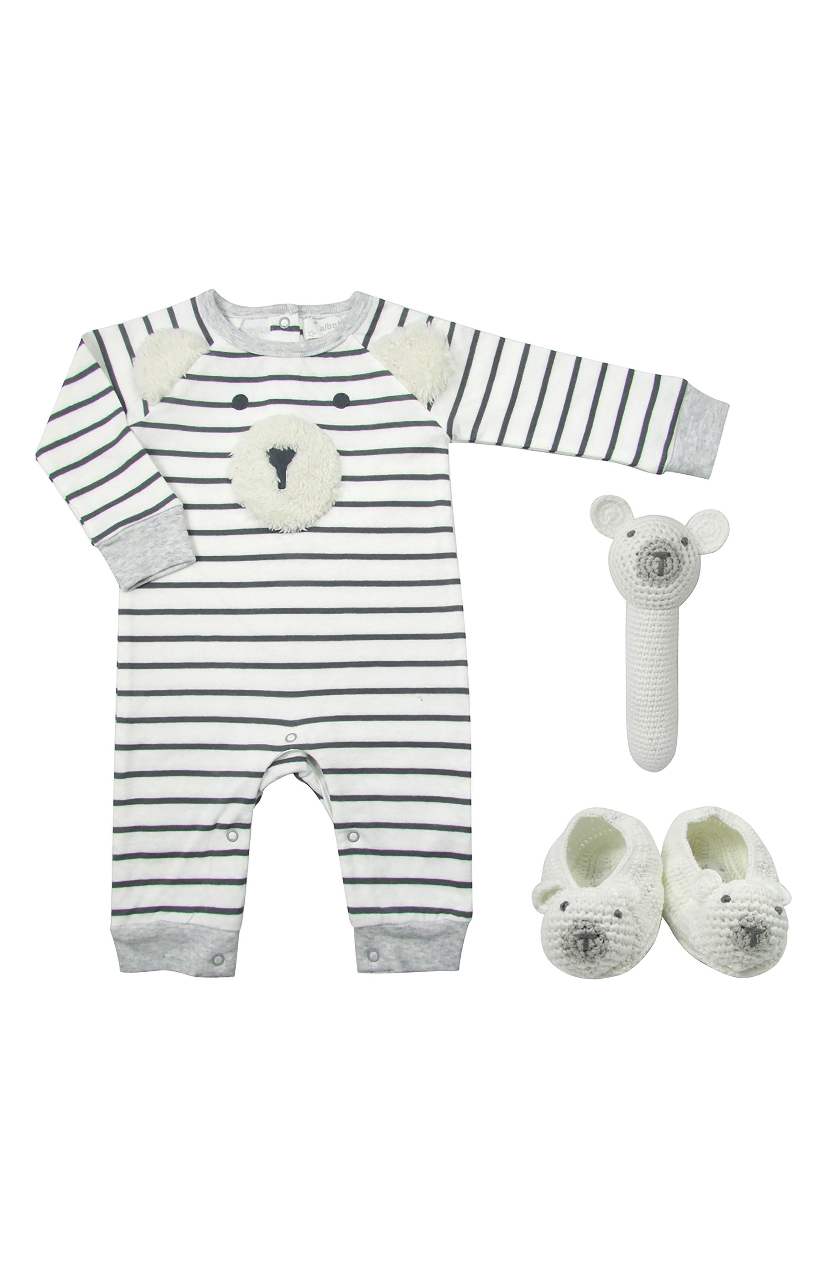 Ivory Bear Romper, Rattle & Booties Set,                             Main thumbnail 1, color,                             WHITE