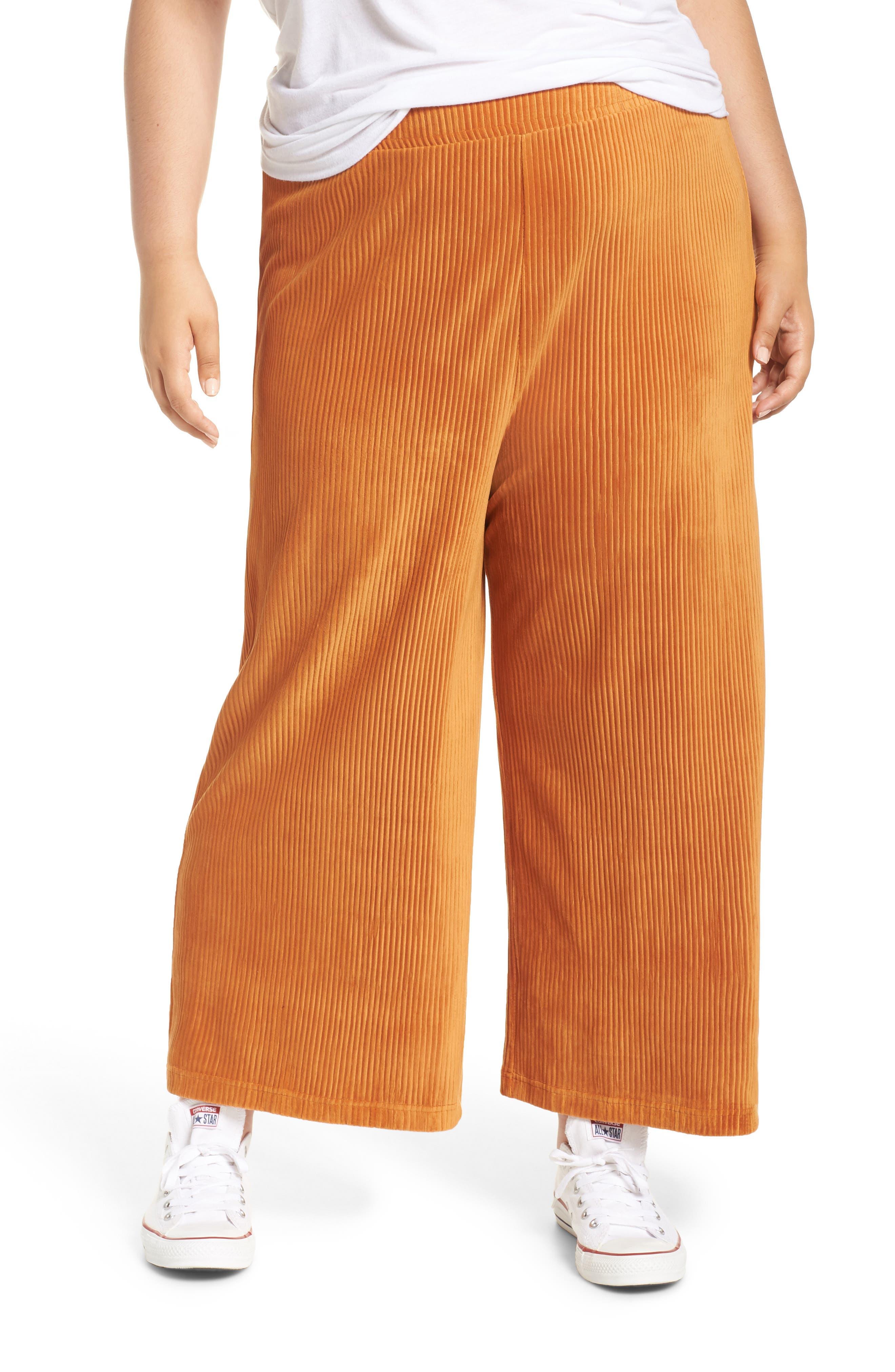 High Rise Knit Corduroy Crop Pants,                             Alternate thumbnail 2, color,                             RUST CIDER