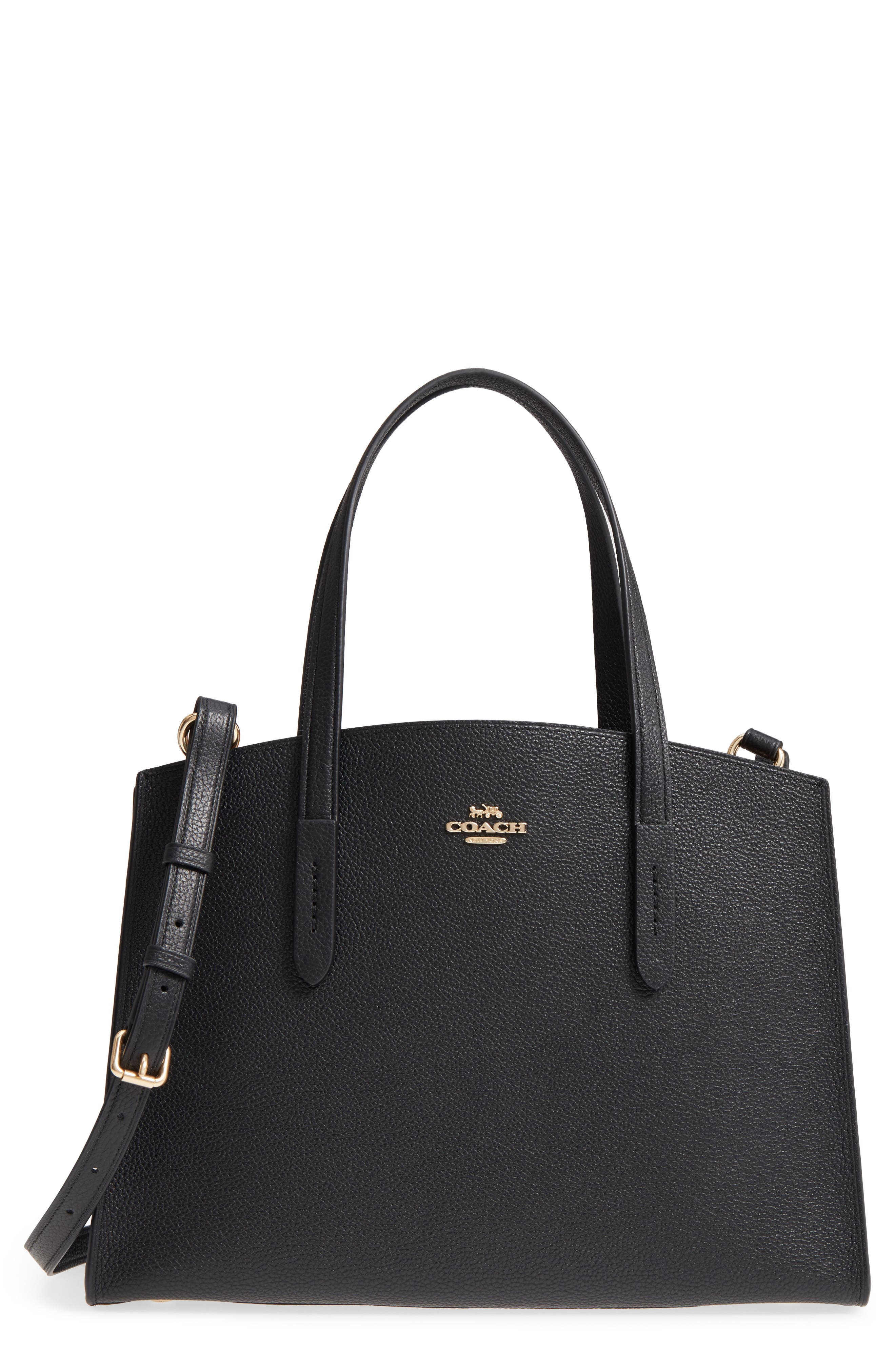 Charlie Leather Tote,                         Main,                         color, BLACK
