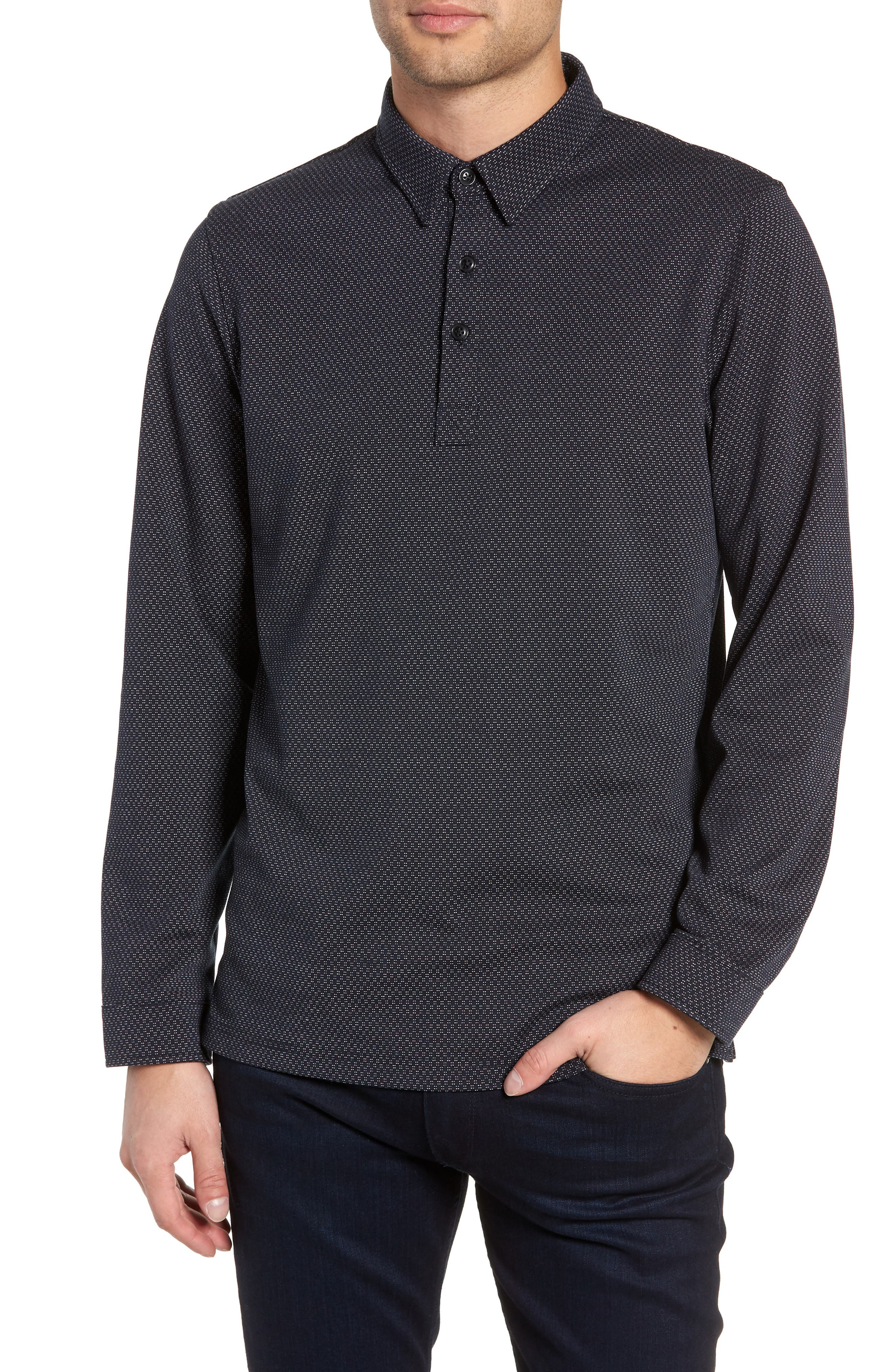 Trim Micro Foulard Polo Shirt,                             Main thumbnail 1, color,                             NAVY