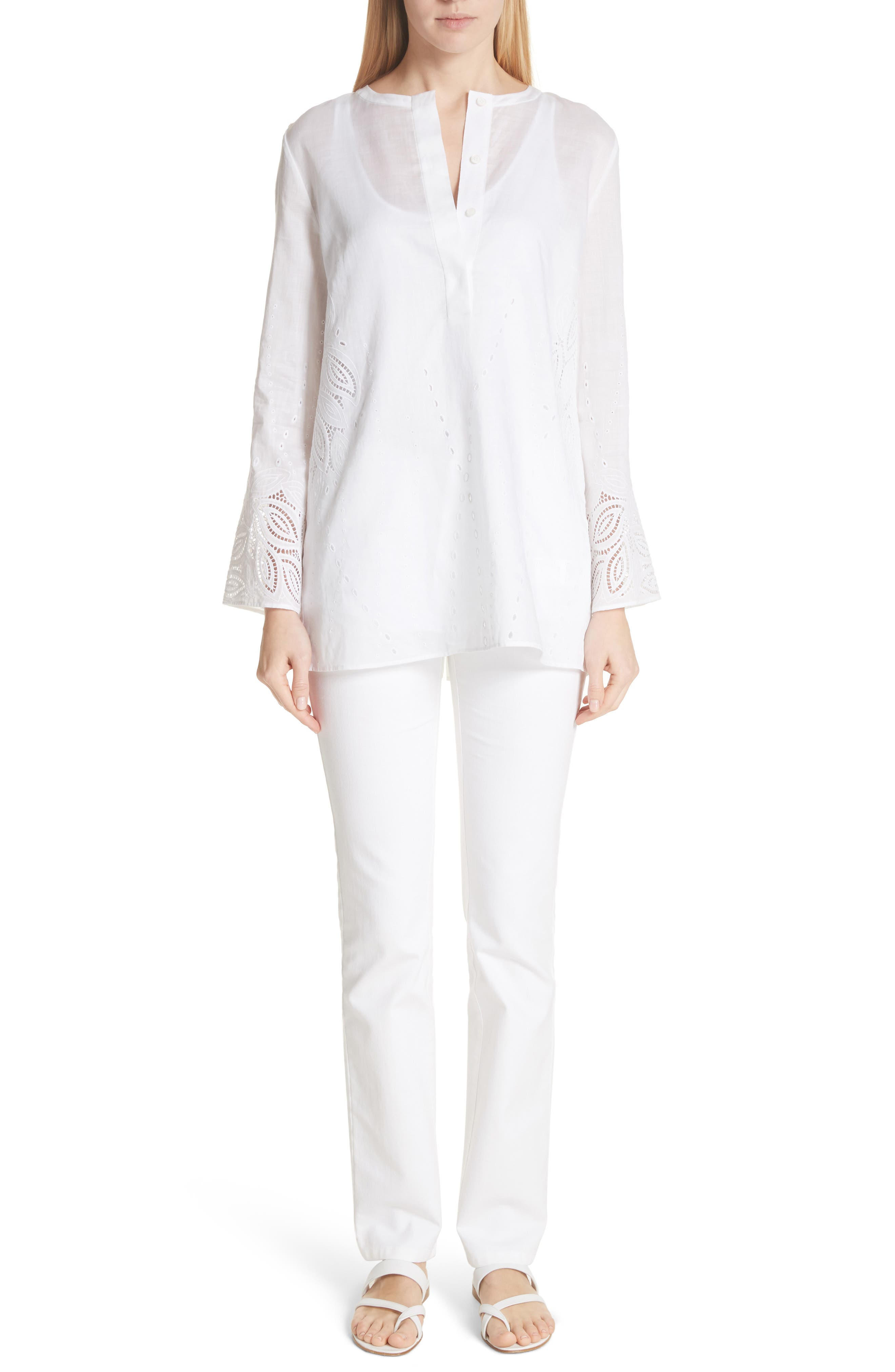 Haisley Embroidered Gemma Cloth Blouse,                             Alternate thumbnail 7, color,                             100