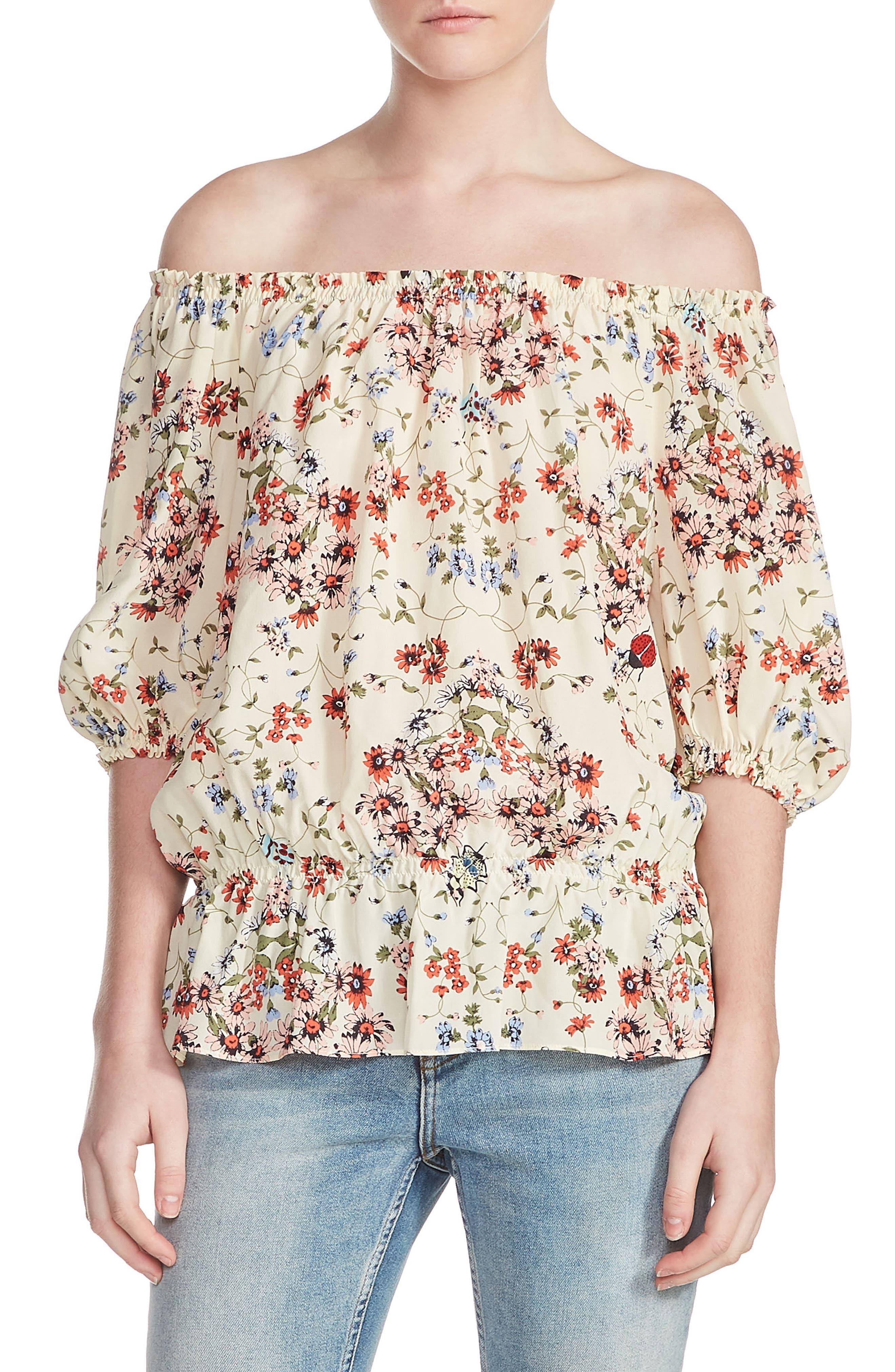 Lucky Floral Silk Top,                             Main thumbnail 1, color,                             900