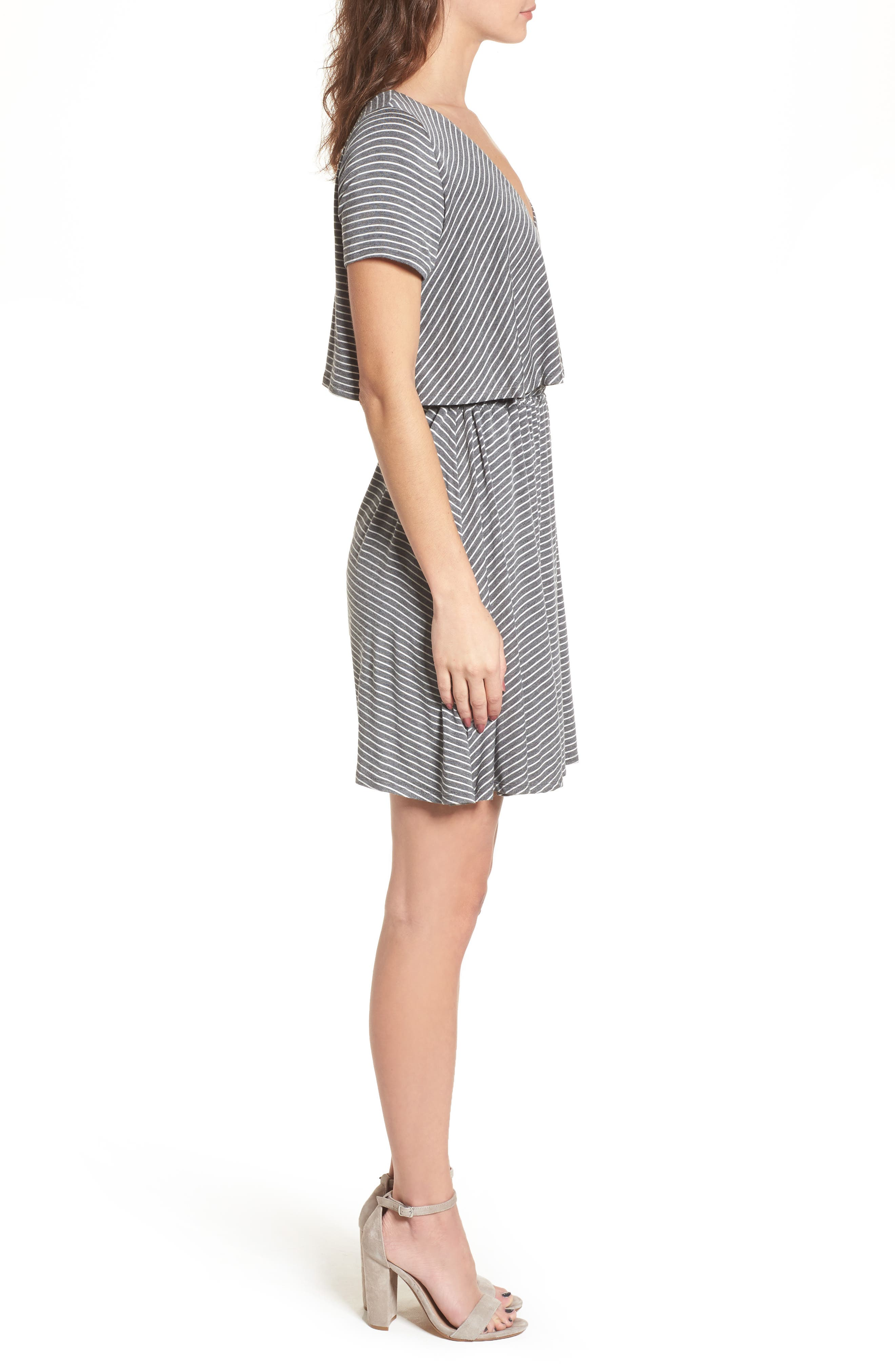Stripe Flutter Bodice Dress,                             Alternate thumbnail 3, color,                             020