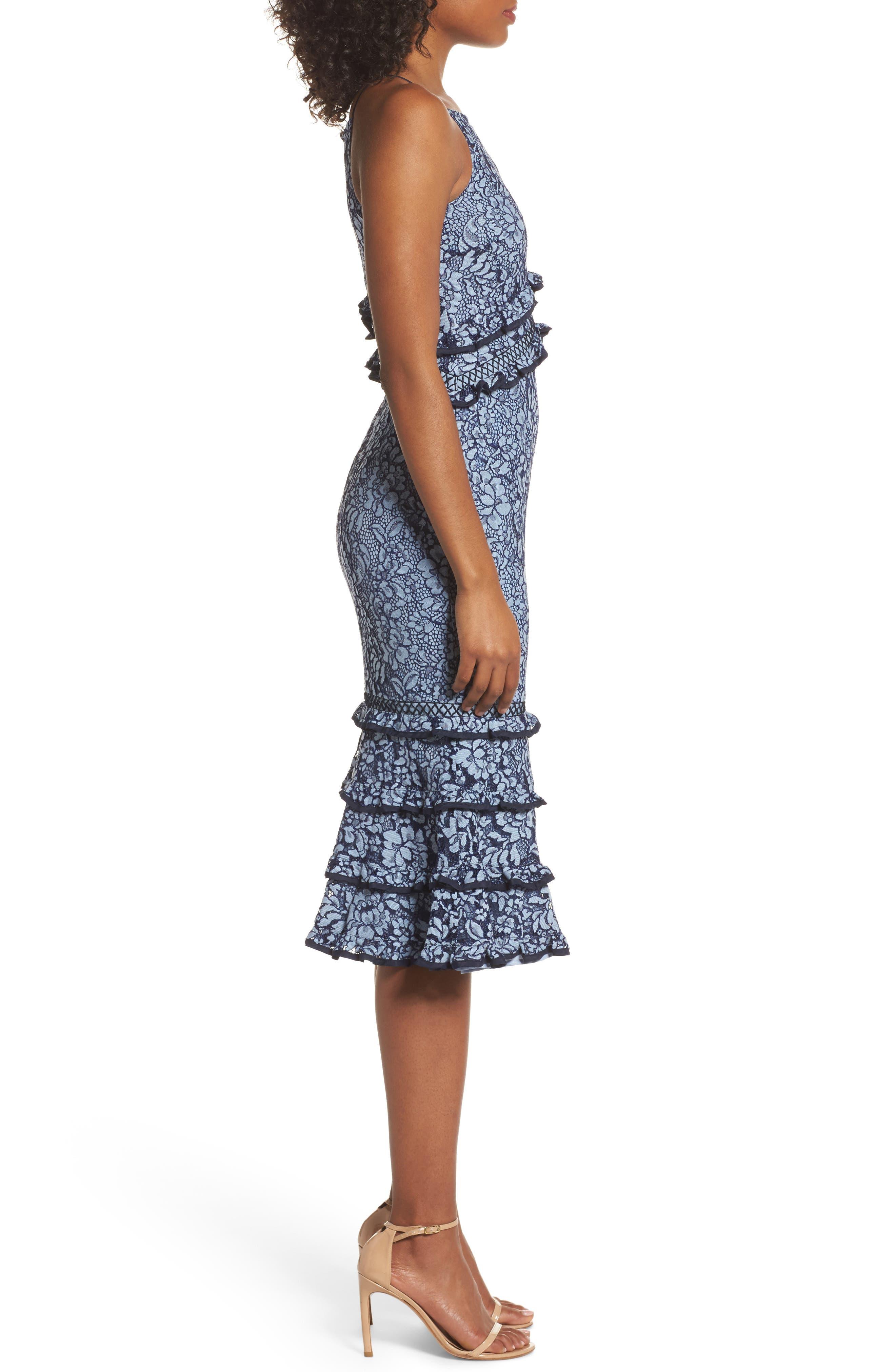 Catch Me Ruffle Lace Sheath Dress,                             Alternate thumbnail 3, color,                             425