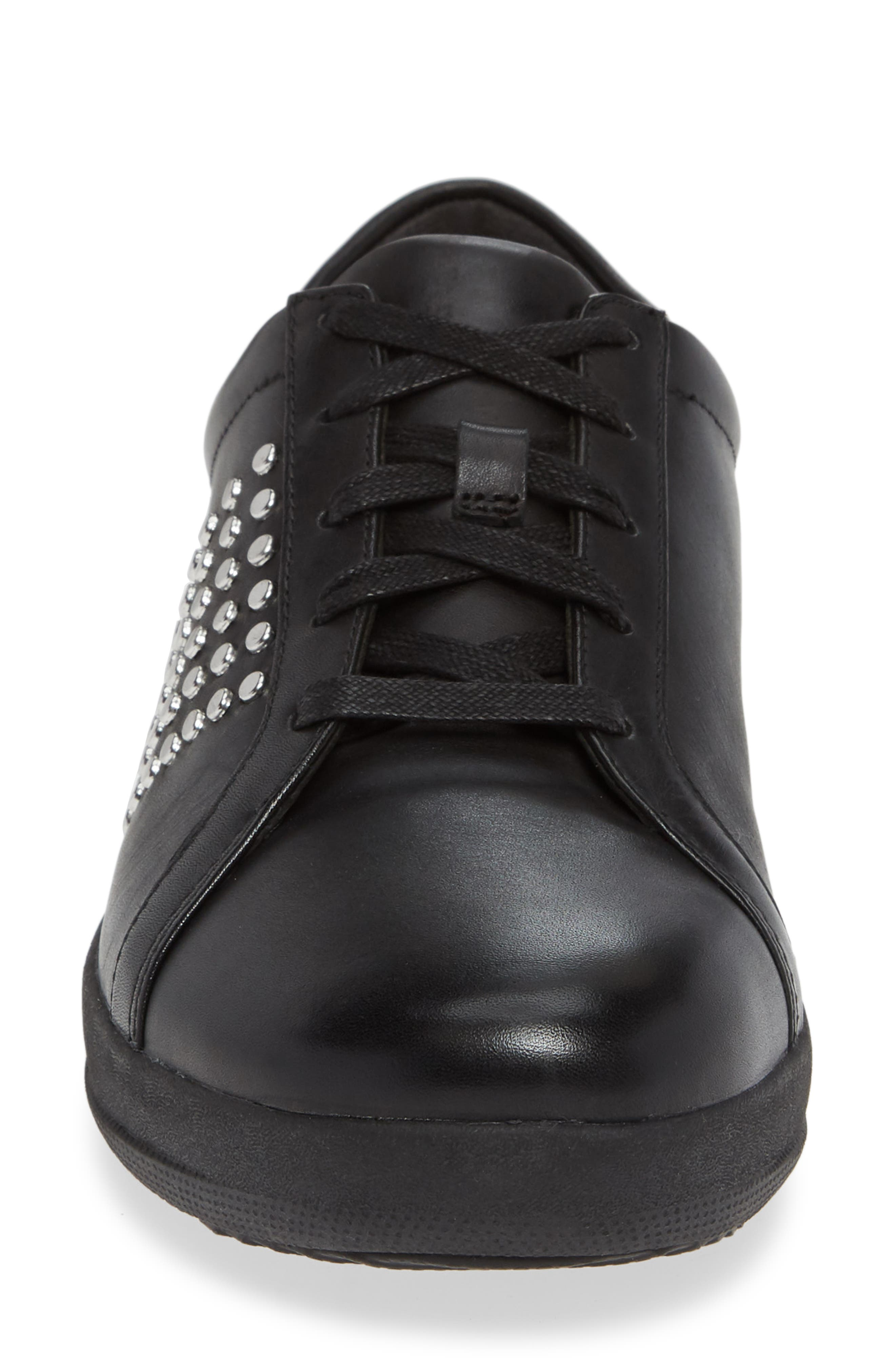 F-Sporty II Studded Sneaker,                             Alternate thumbnail 4, color,                             BLACK LEATHER