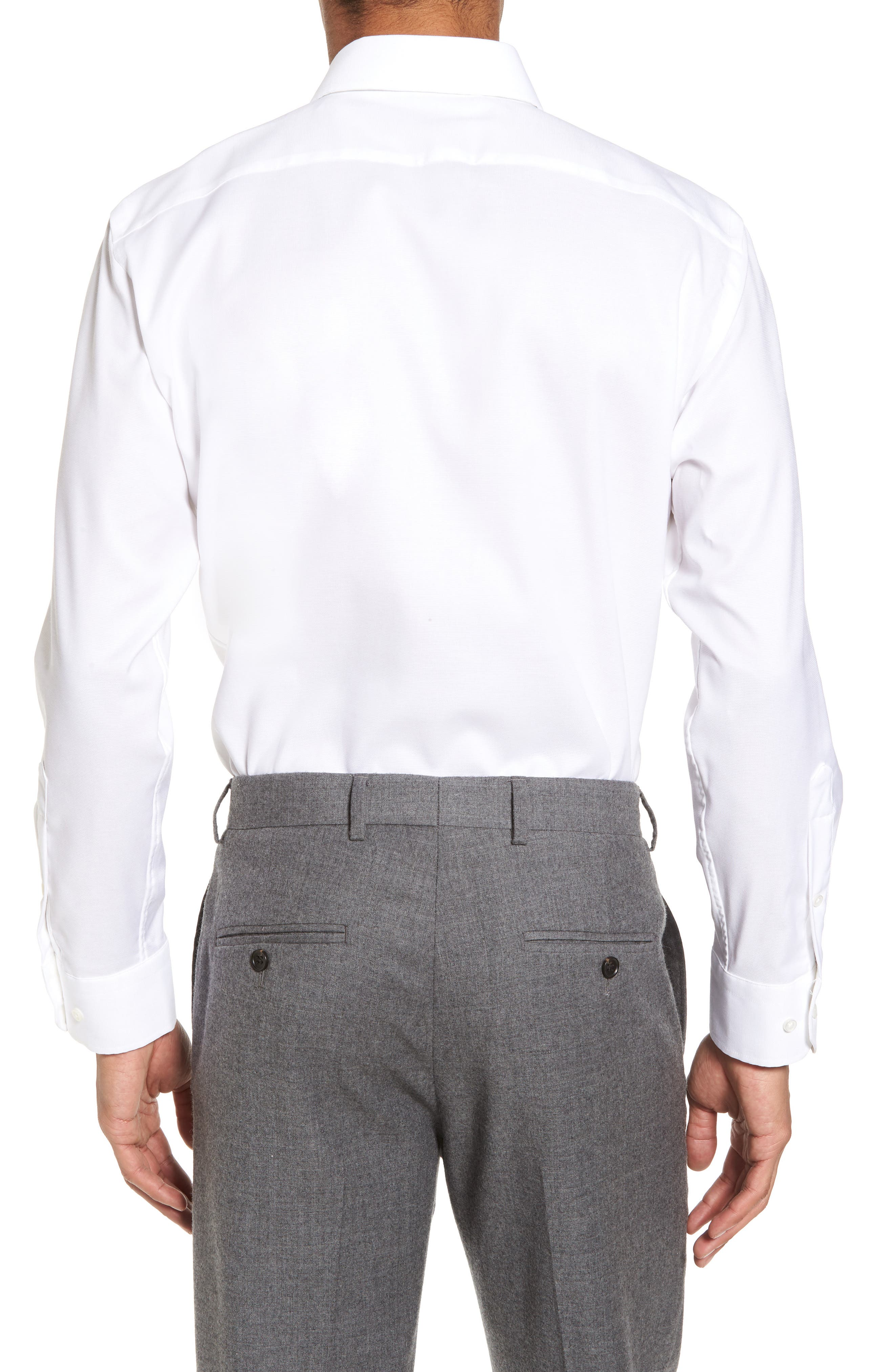 Trim Fit Non-Iron Stretch Solid Dress Shirt,                             Alternate thumbnail 2, color,                             WHITE