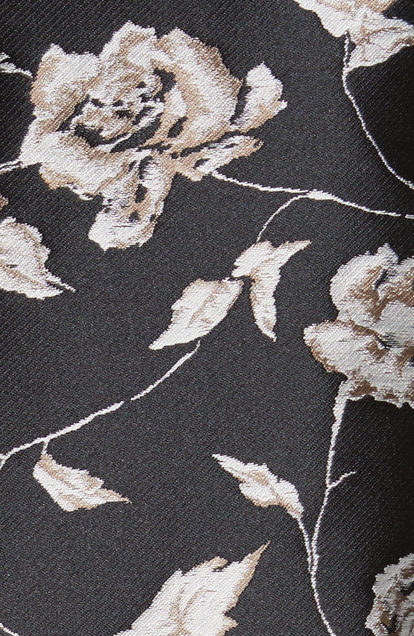 Carmen Marc Valvo Floral Jacquard Jacket,                             Alternate thumbnail 5, color,                             001